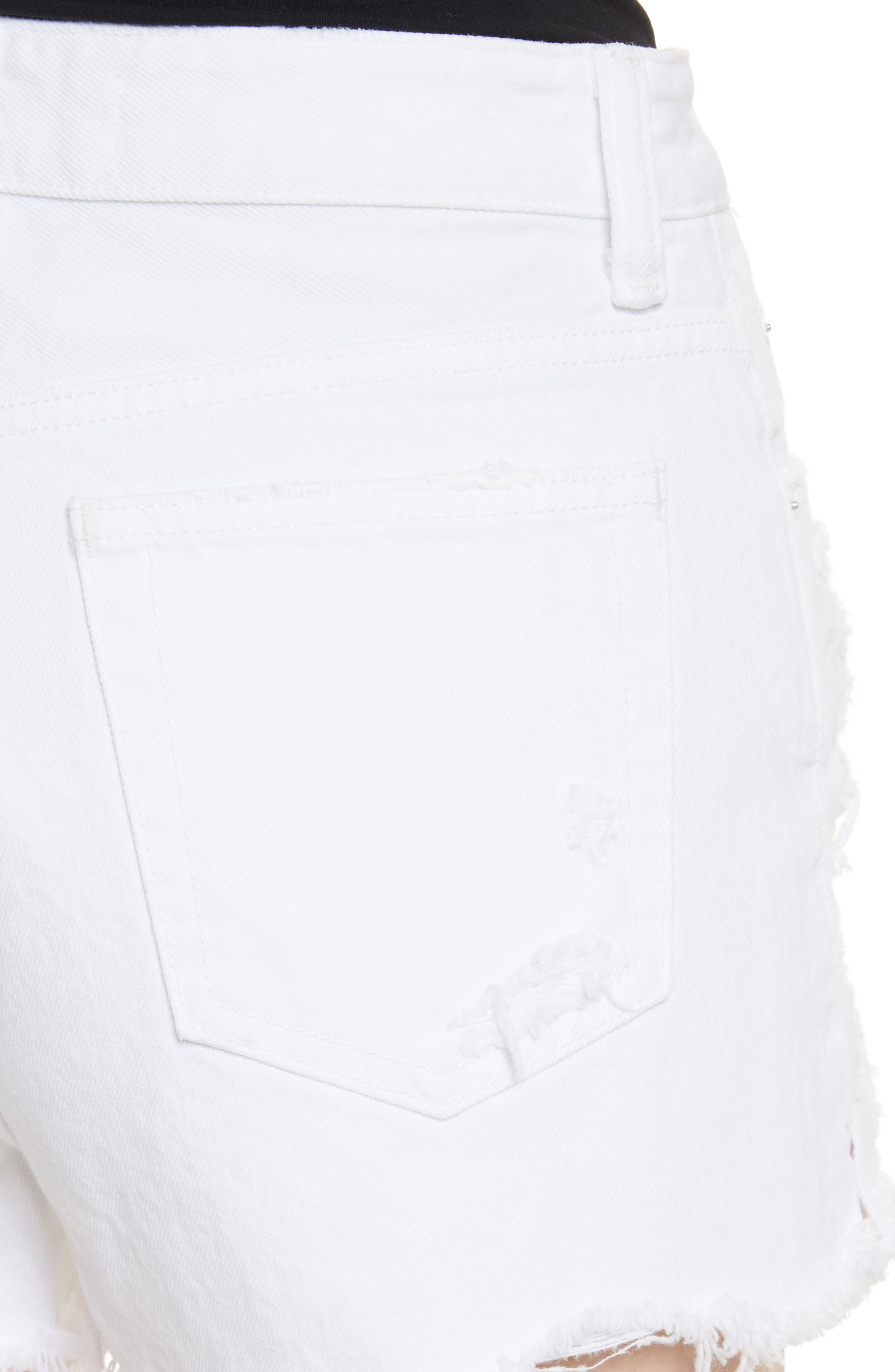 Bite White Ripped Denim Shorts,                             Alternate thumbnail 4, color,                             Bleached Destroy