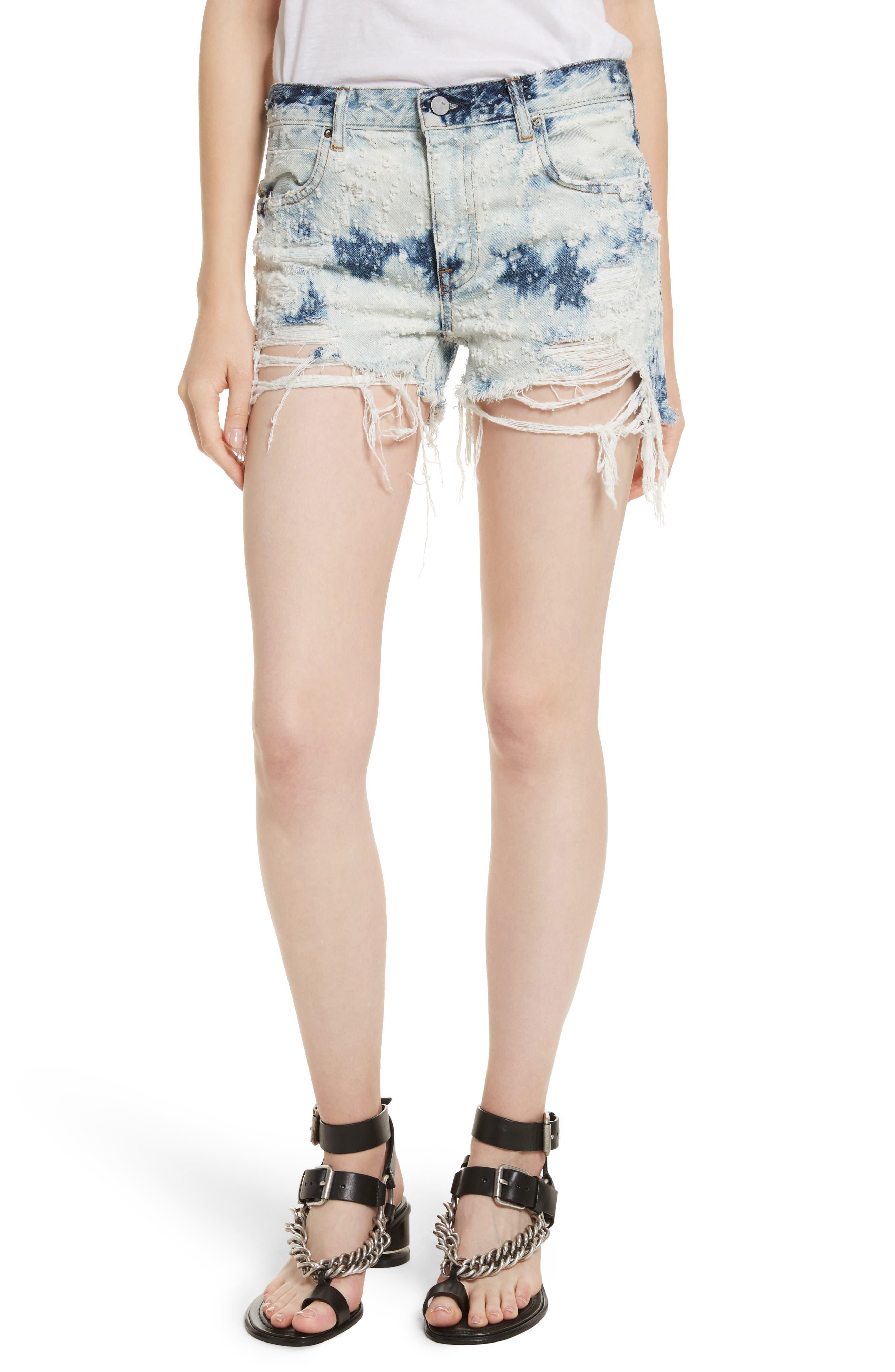 Denim x Alexander Wang Shadow Ripped Denim Shorts,                         Main,                         color, Bleached Destroy