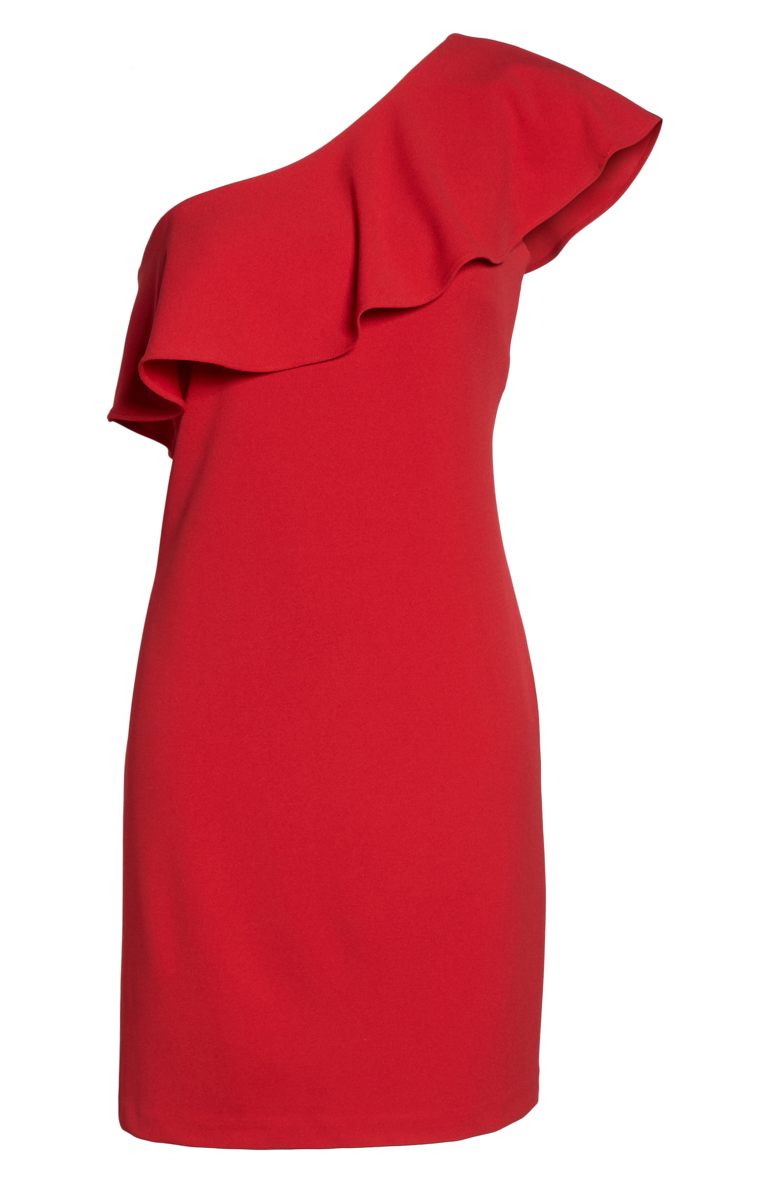 Ruffle One-Shoulder Shift Dress,                             Alternate thumbnail 6, color,                             Red