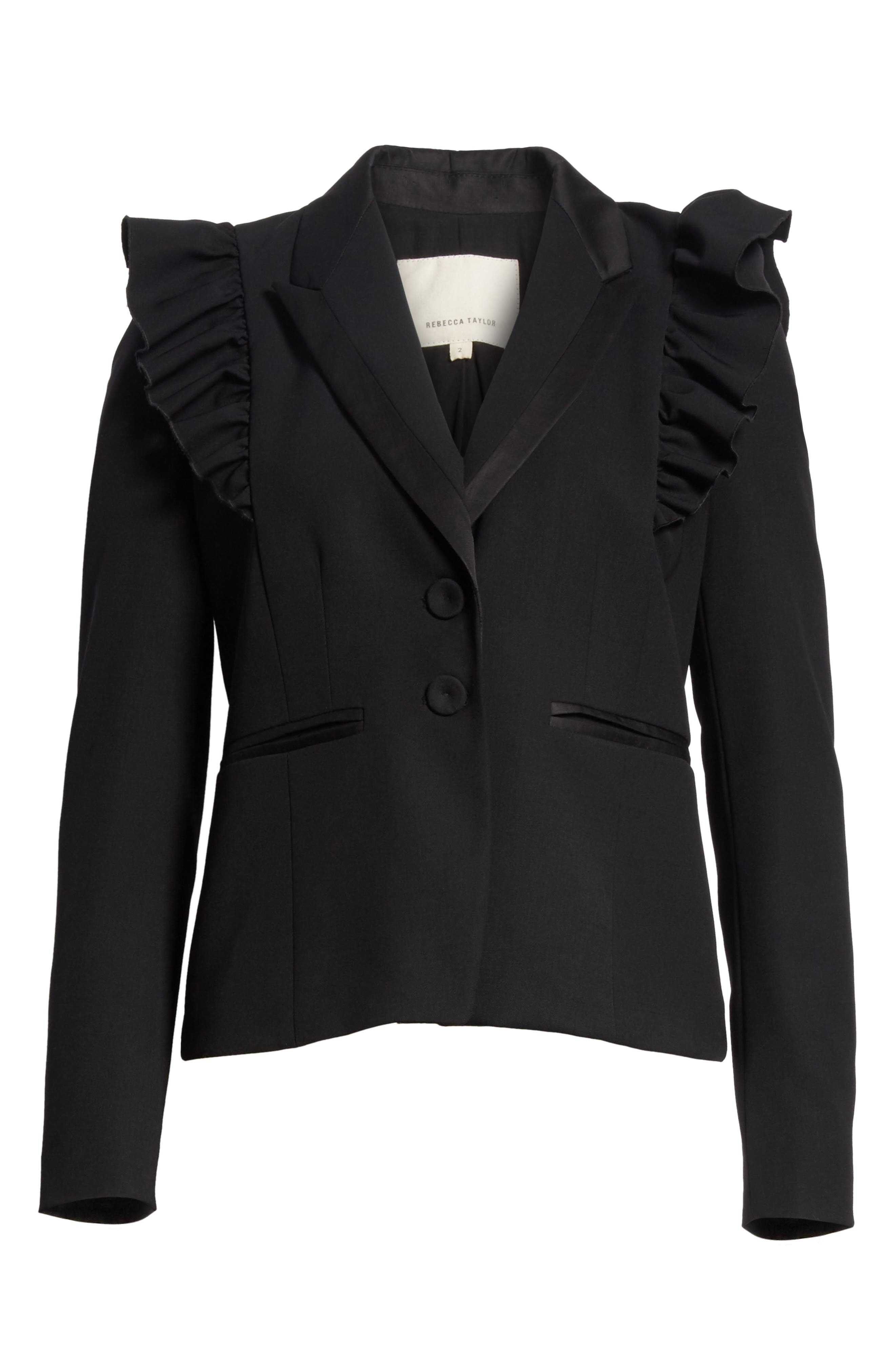 Ruffle Stretch Wool Jacket,                             Alternate thumbnail 6, color,                             Black