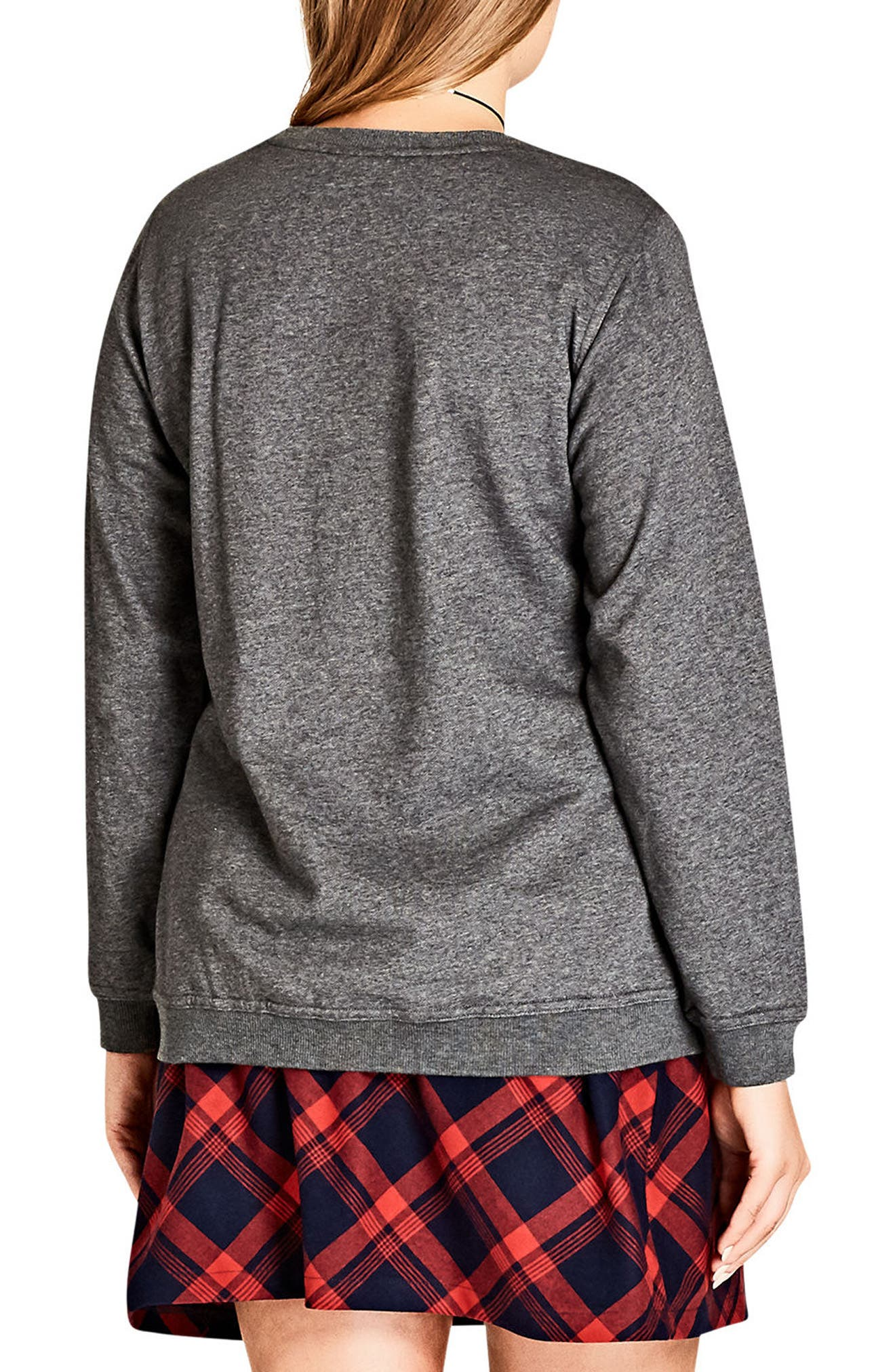 Alternate Image 2  - City Chic #OOTD Sweatshirt (Plus Size)