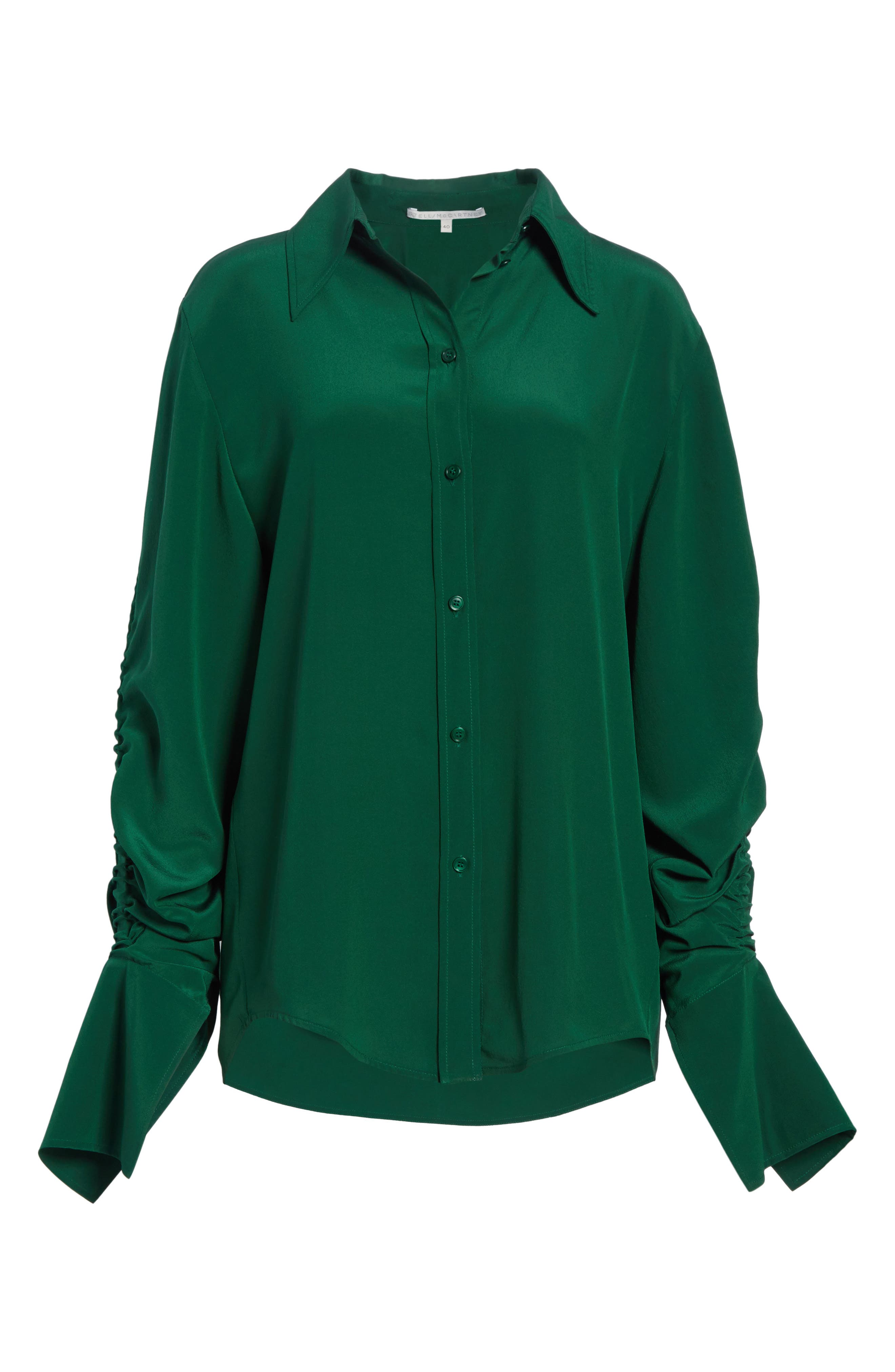 Ruched Flare Cuff Silk Shirt,                             Alternate thumbnail 6, color,                             Leaf Green