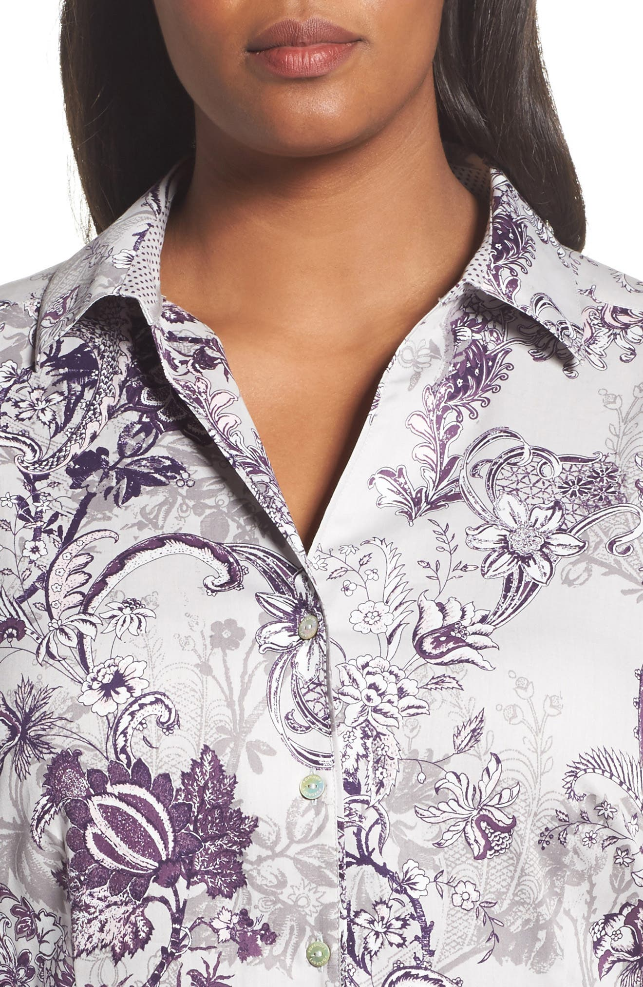 Alternate Image 4  - Foxcroft Floral Tapestry Shirt (Plus Size)
