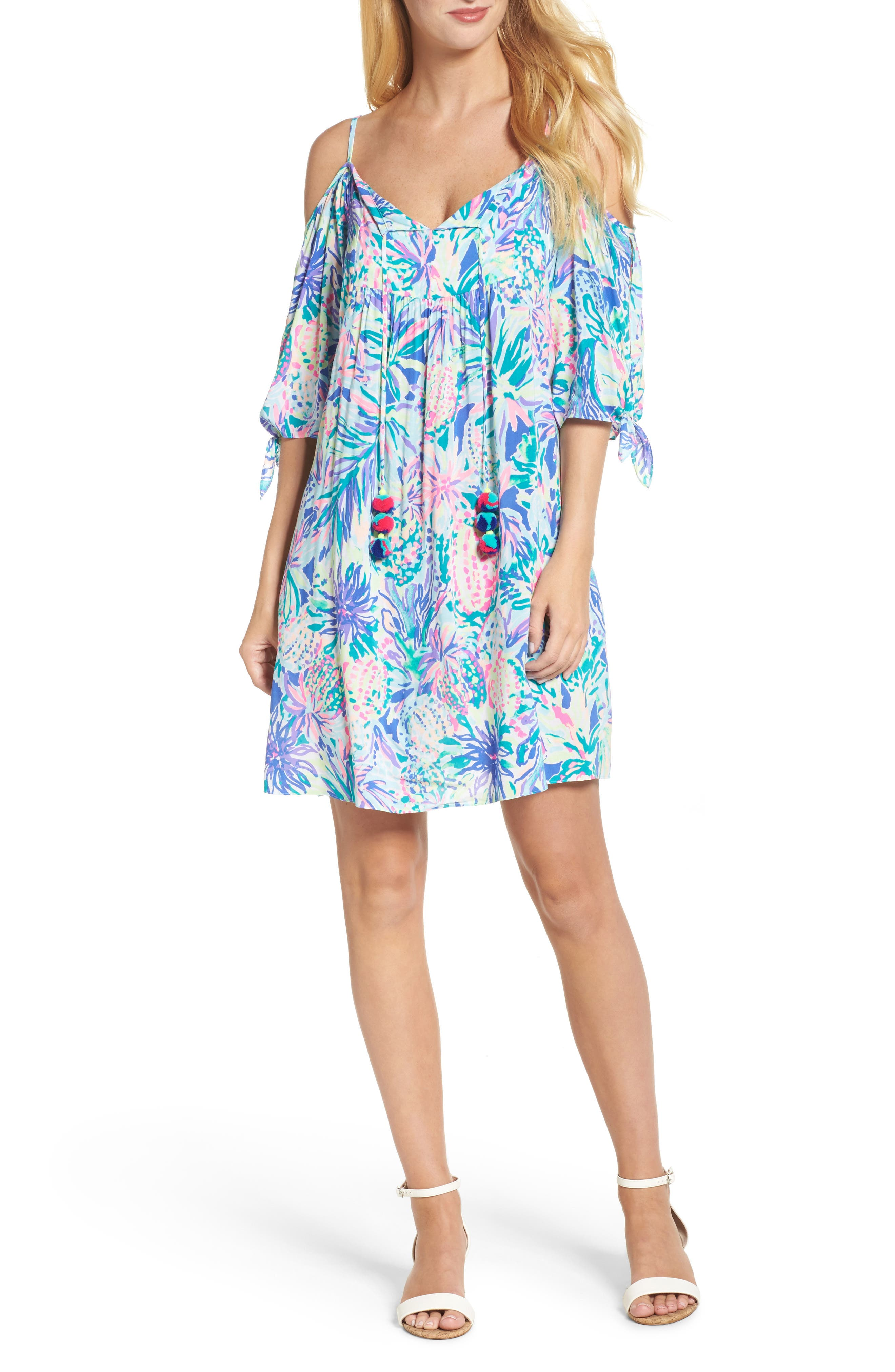 Alanna Cold Shoulder Dress,                             Main thumbnail 1, color,                             Multi Juniper