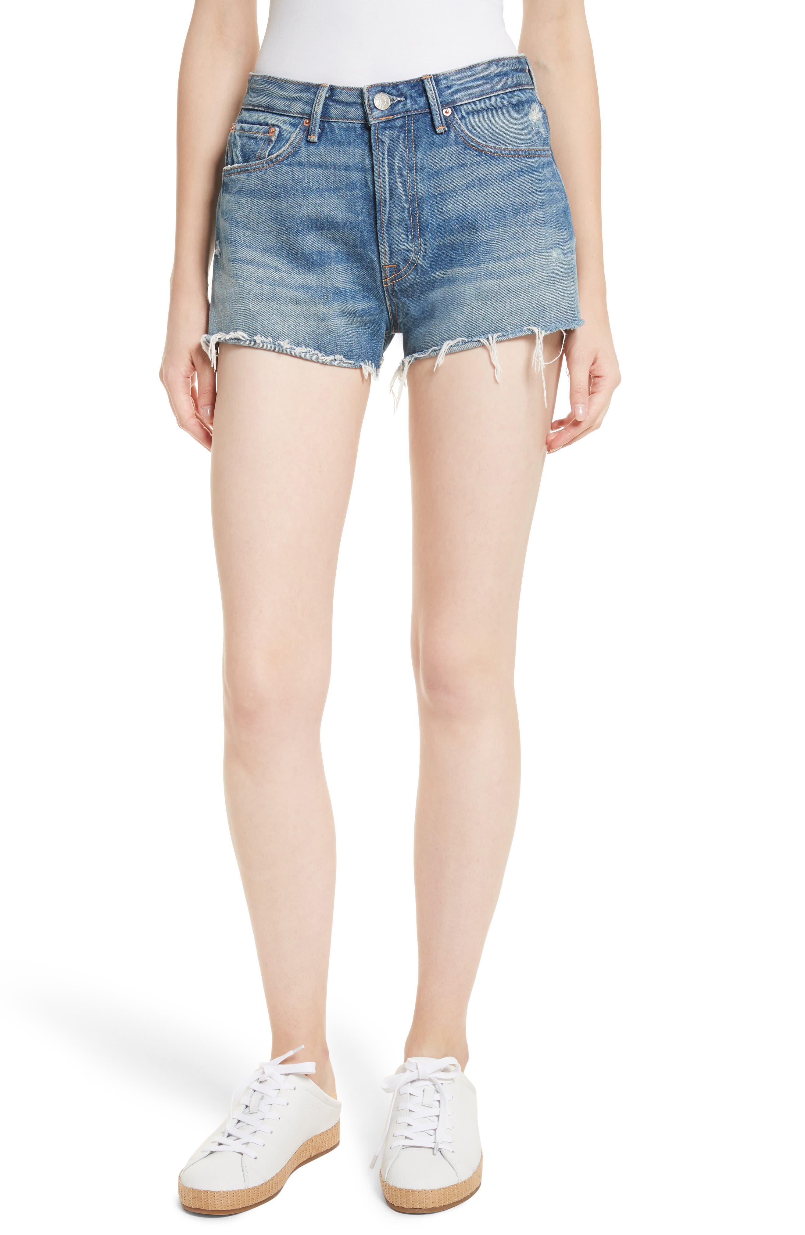 Alternate Image 1 Selected - GRLFRND Cindy Rigid High Waist Denim Shorts (Nobody Does It Better)