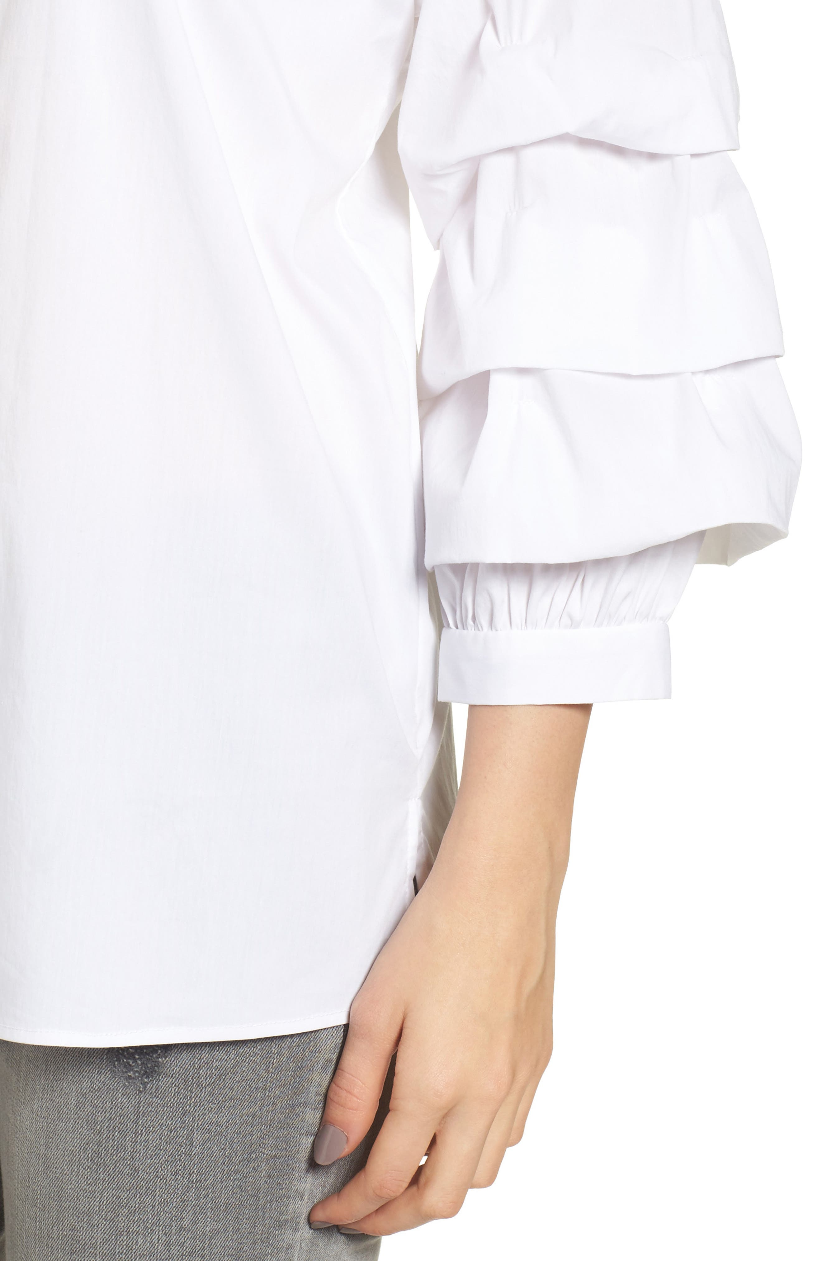 Ruched Sleeve Shirt,                             Alternate thumbnail 4, color,                             White