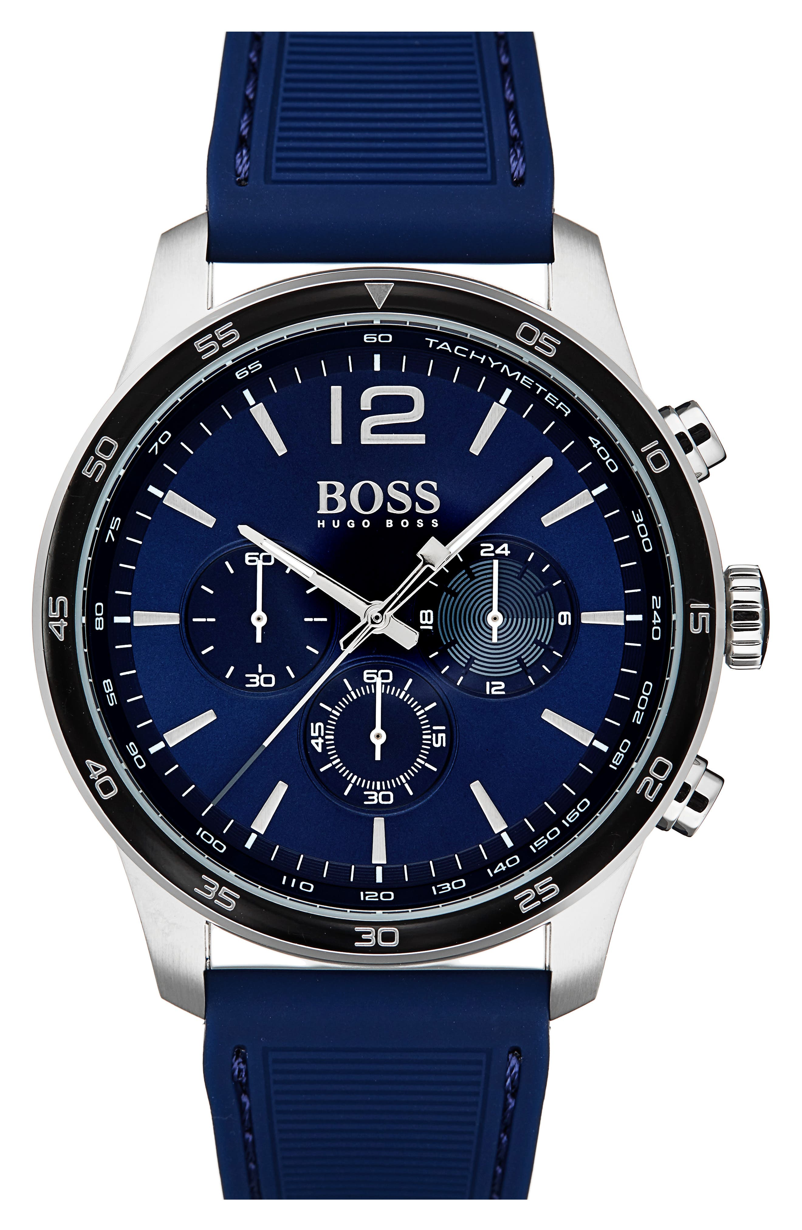 Professional Chronograph Leather Strap Watch, 42mm,                         Main,                         color, Navy/ Navy