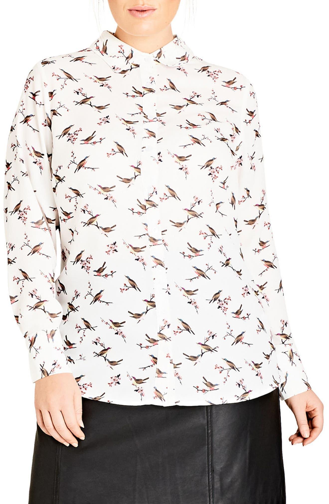 Main Image - City Chic Birdy Shirt (Plus Size)