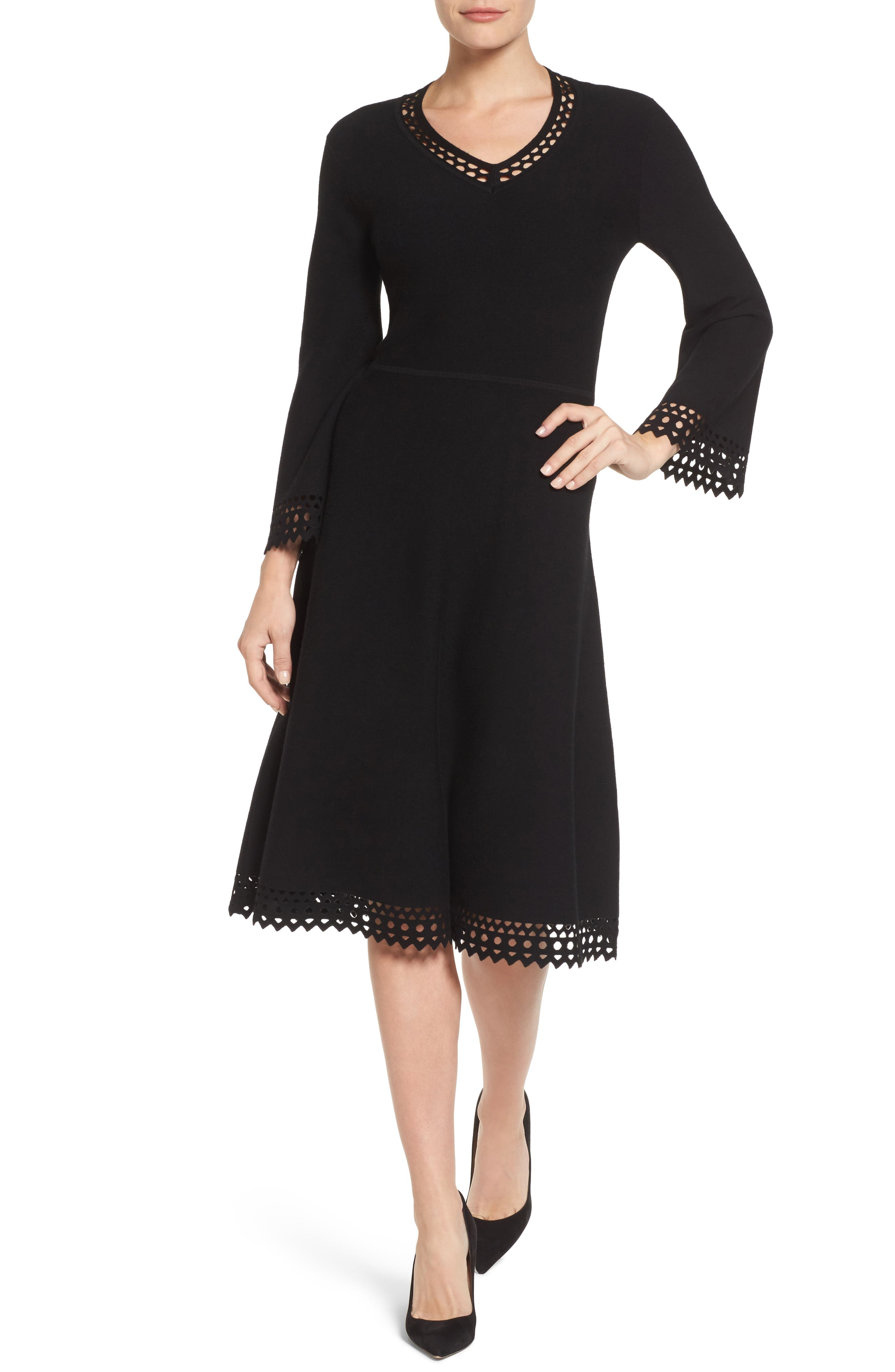 Emerson Rose Cutout Fit & Flare Sweater Dress