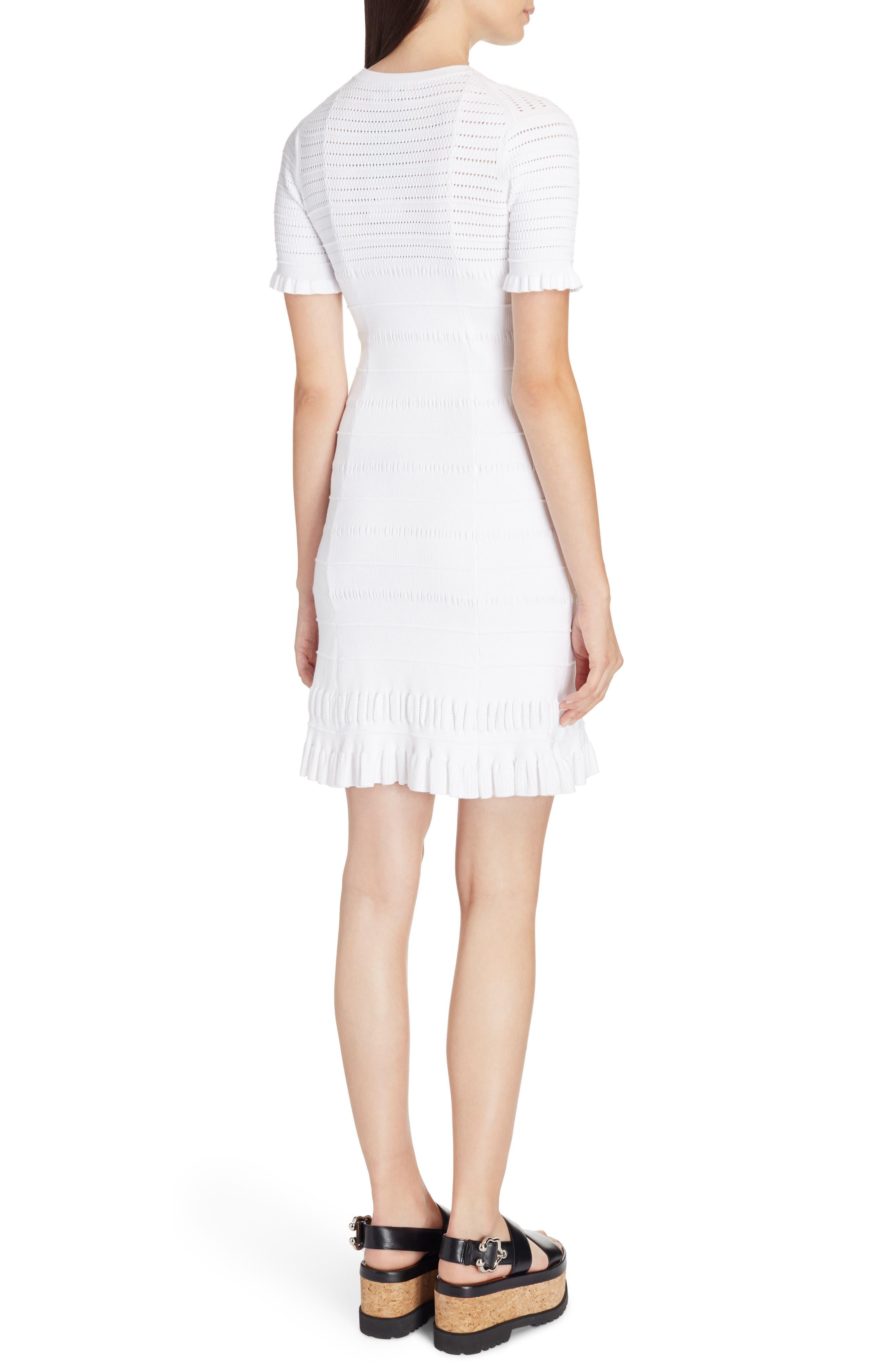 Knit Ruffle Hem Dress,                             Alternate thumbnail 2, color,                             White