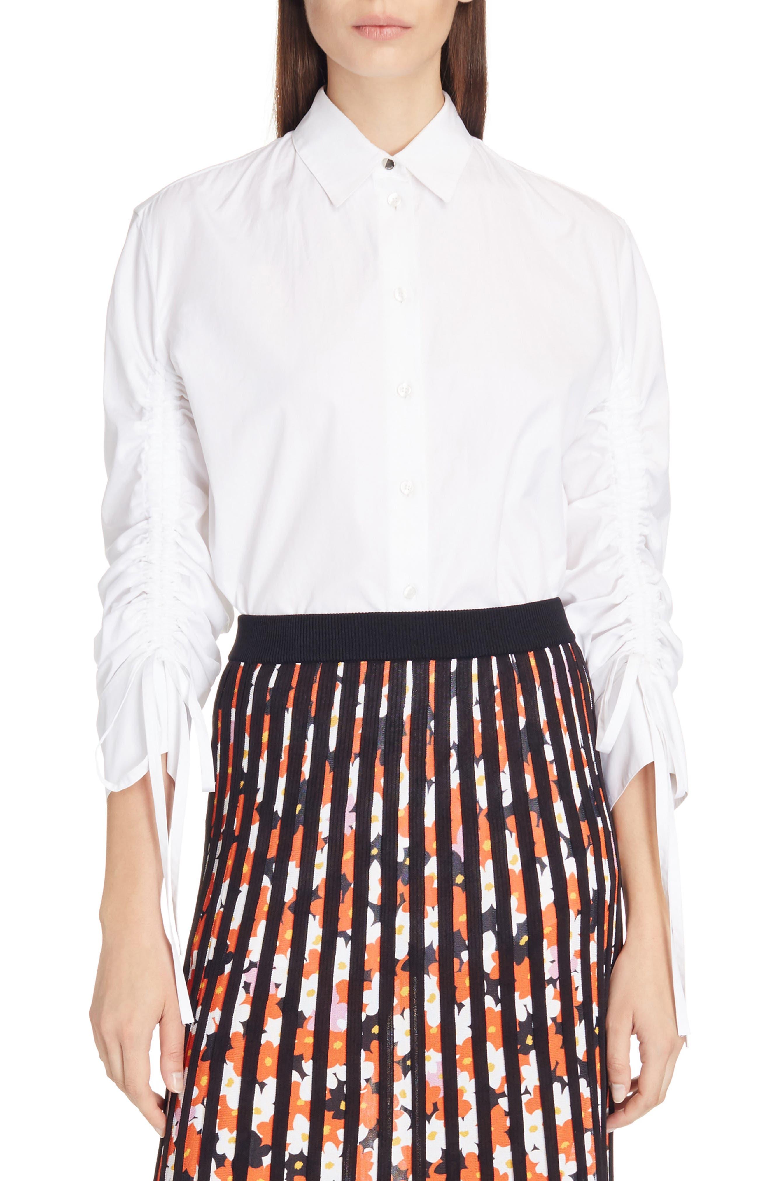Drawstring Blouse,                         Main,                         color, White