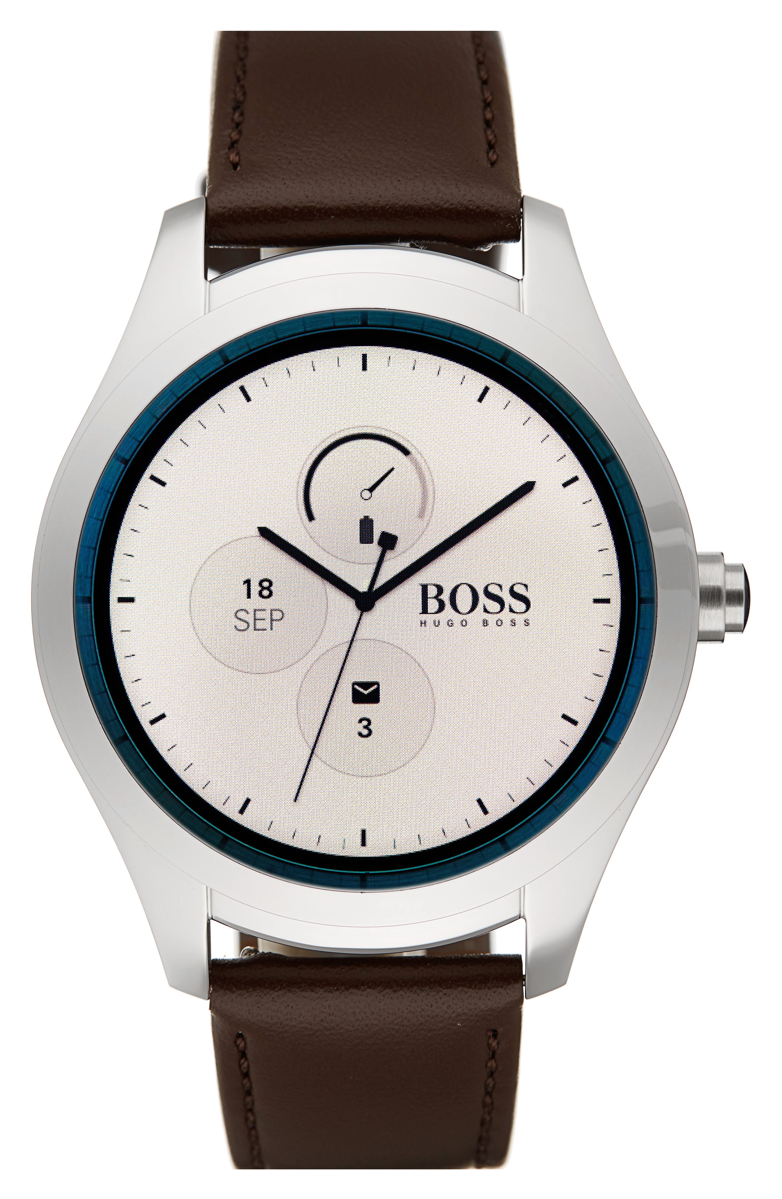 Alternate Image 1 Selected - BOSS Touch Leather Strap Smart Watch Set