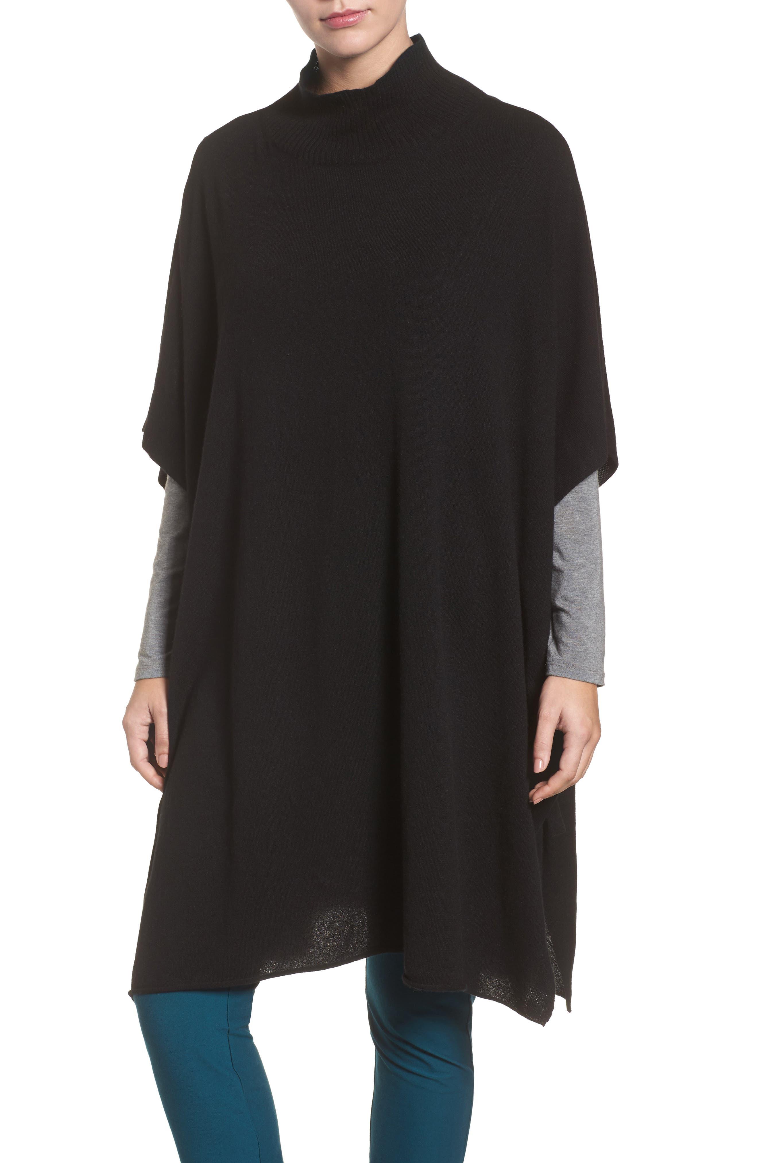 Cashmere Poncho,                         Main,                         color, Black