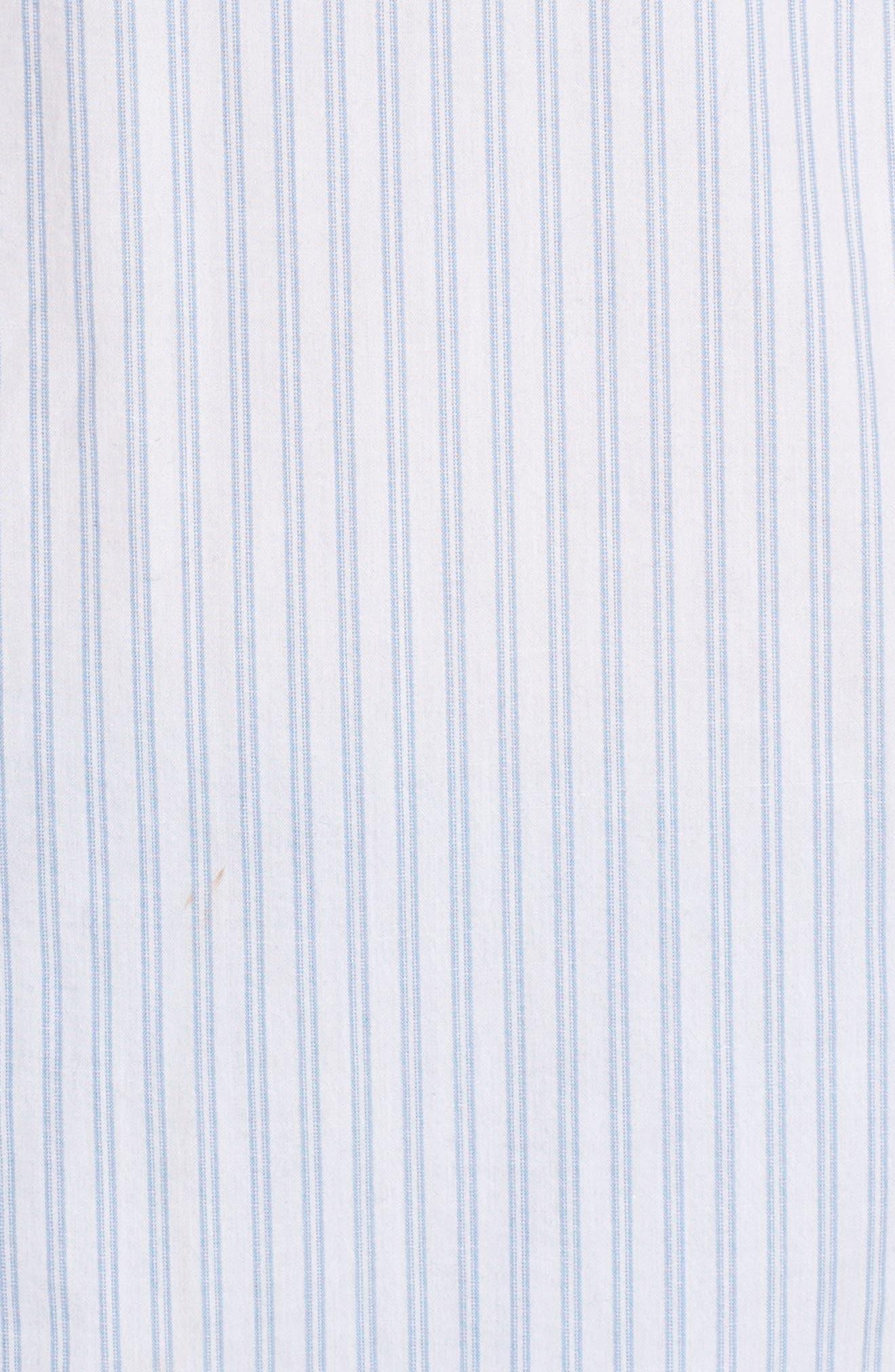 Button Front Pocket Shirt,                             Alternate thumbnail 5, color,                             White- Blue Stripe