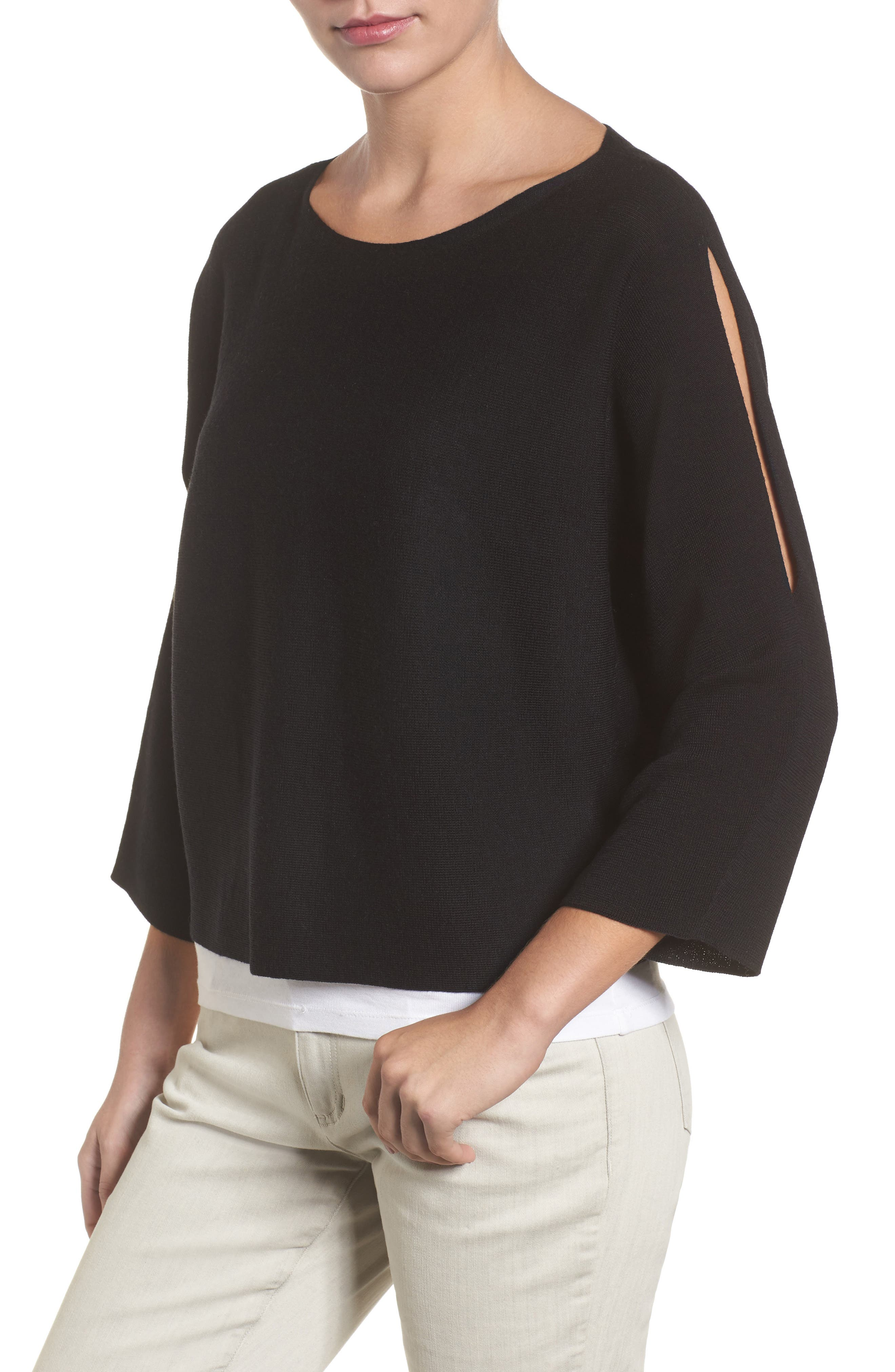 Crop Merino Wool Sweater,                         Main,                         color, Black