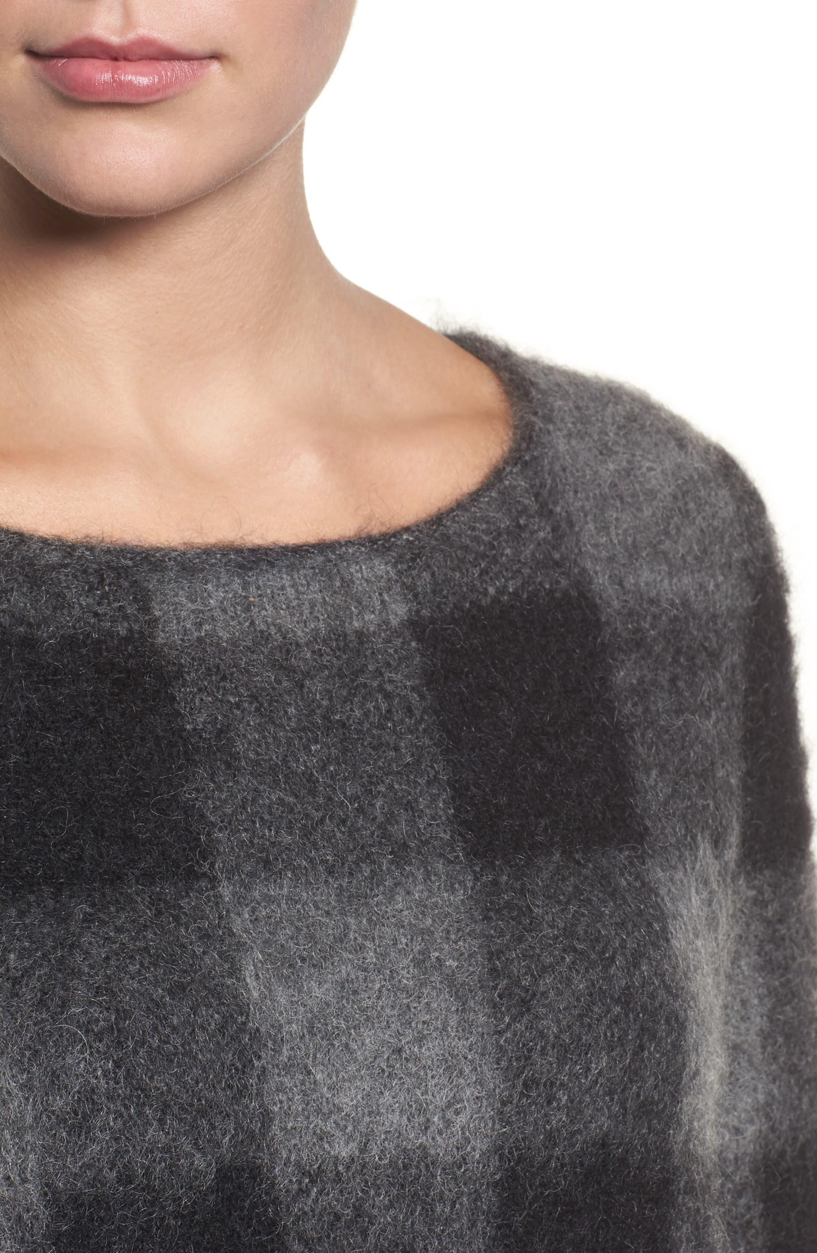 Check Plaid Sweater,                             Alternate thumbnail 4, color,                             Ash