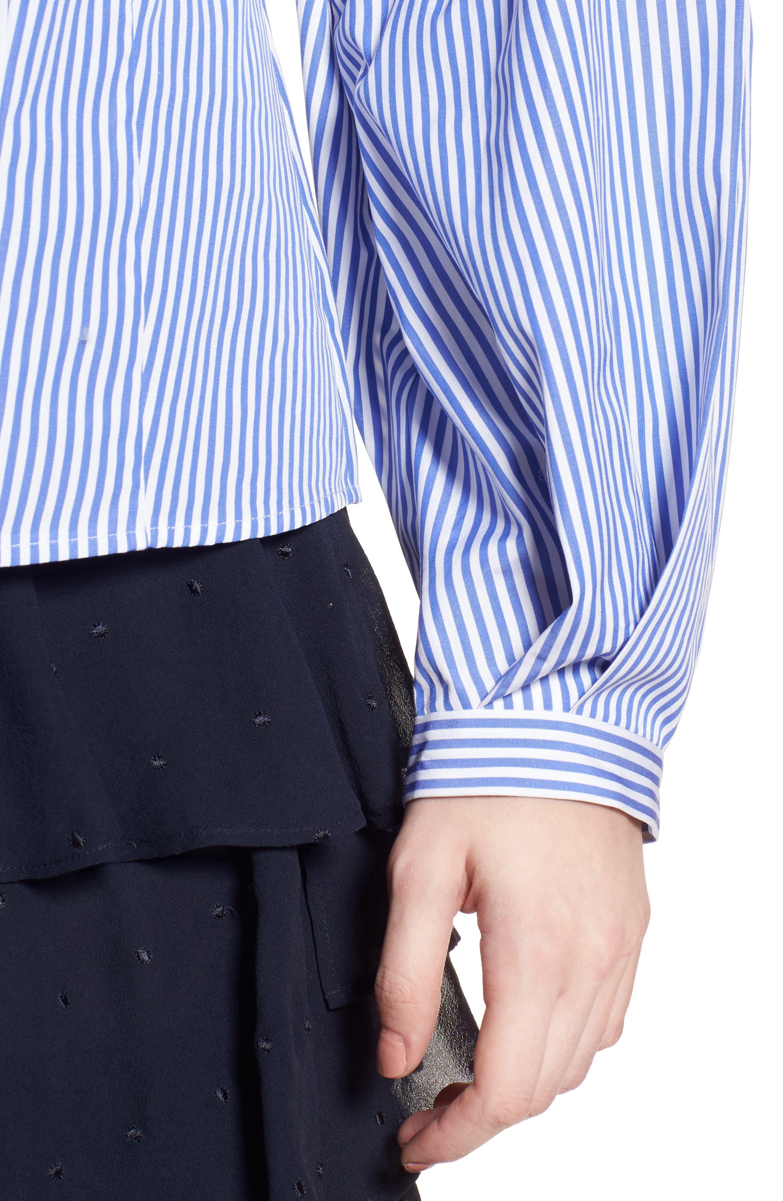 Balloon Sleeve Stripe Shirt,                             Alternate thumbnail 4, color,                             Blue Azurite Vania Stripe