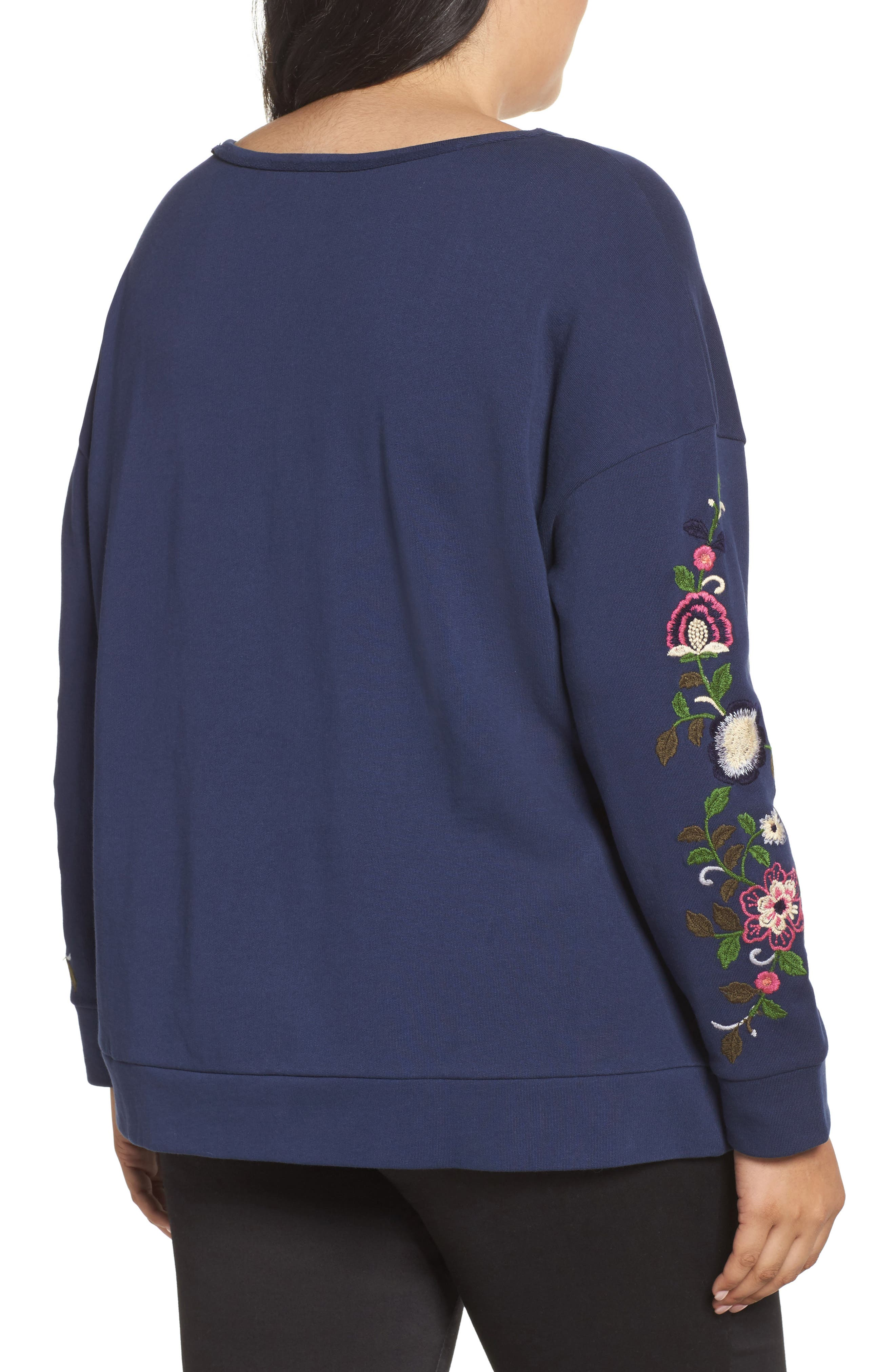 Embroidered Sleeve Sweatshirt,                             Alternate thumbnail 2, color,                             Navy- Rose Floral