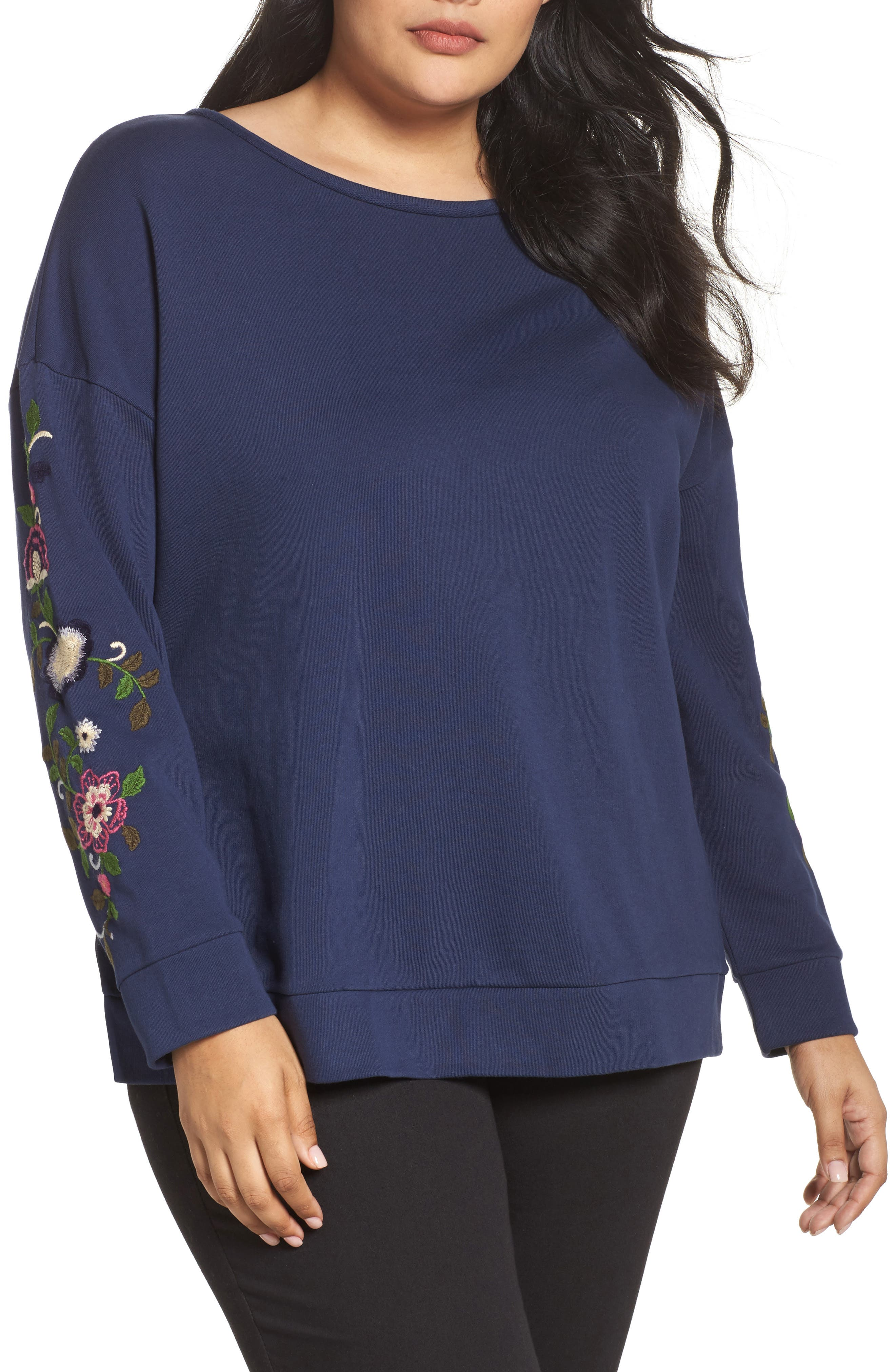 Embroidered Sleeve Sweatshirt,                             Main thumbnail 1, color,                             Navy- Rose Floral