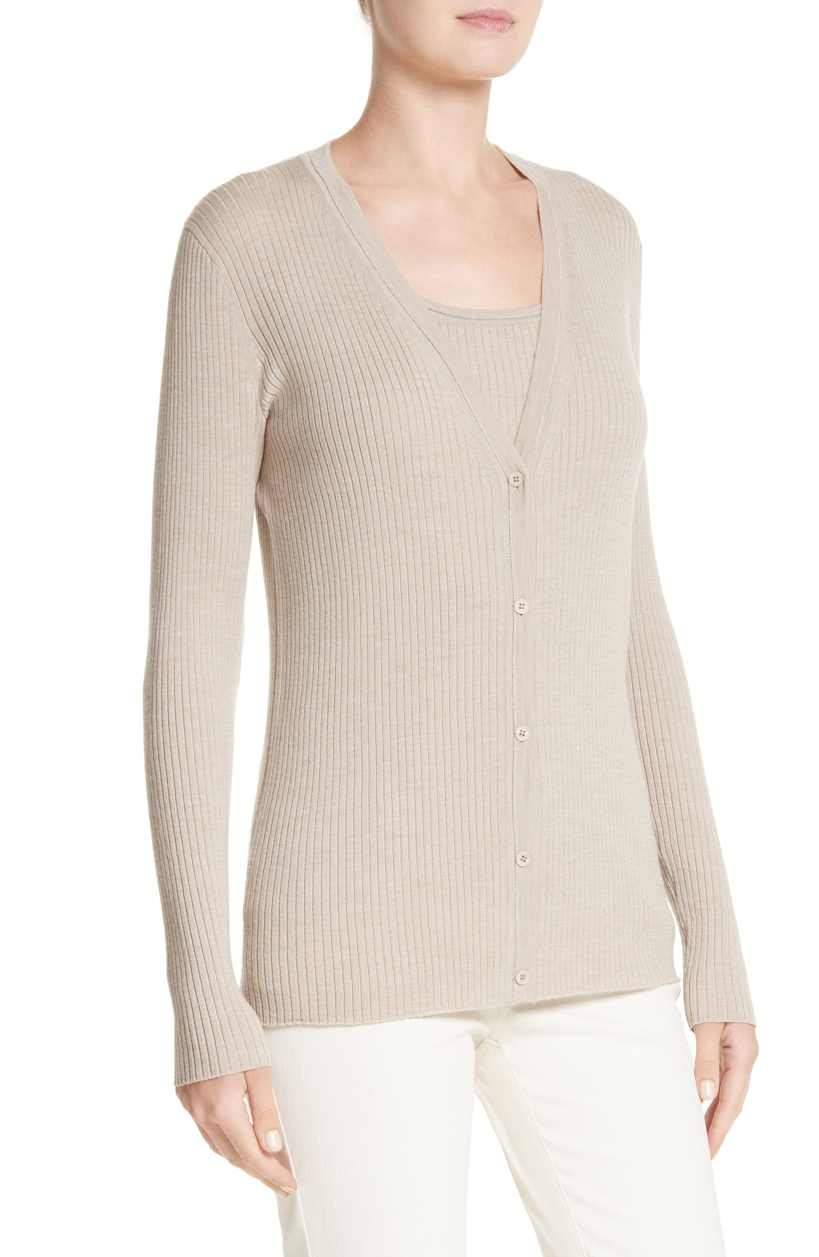 Metallic Wool Modern Ribbed Cardigan,                             Alternate thumbnail 5, color,                             Luxor Melange
