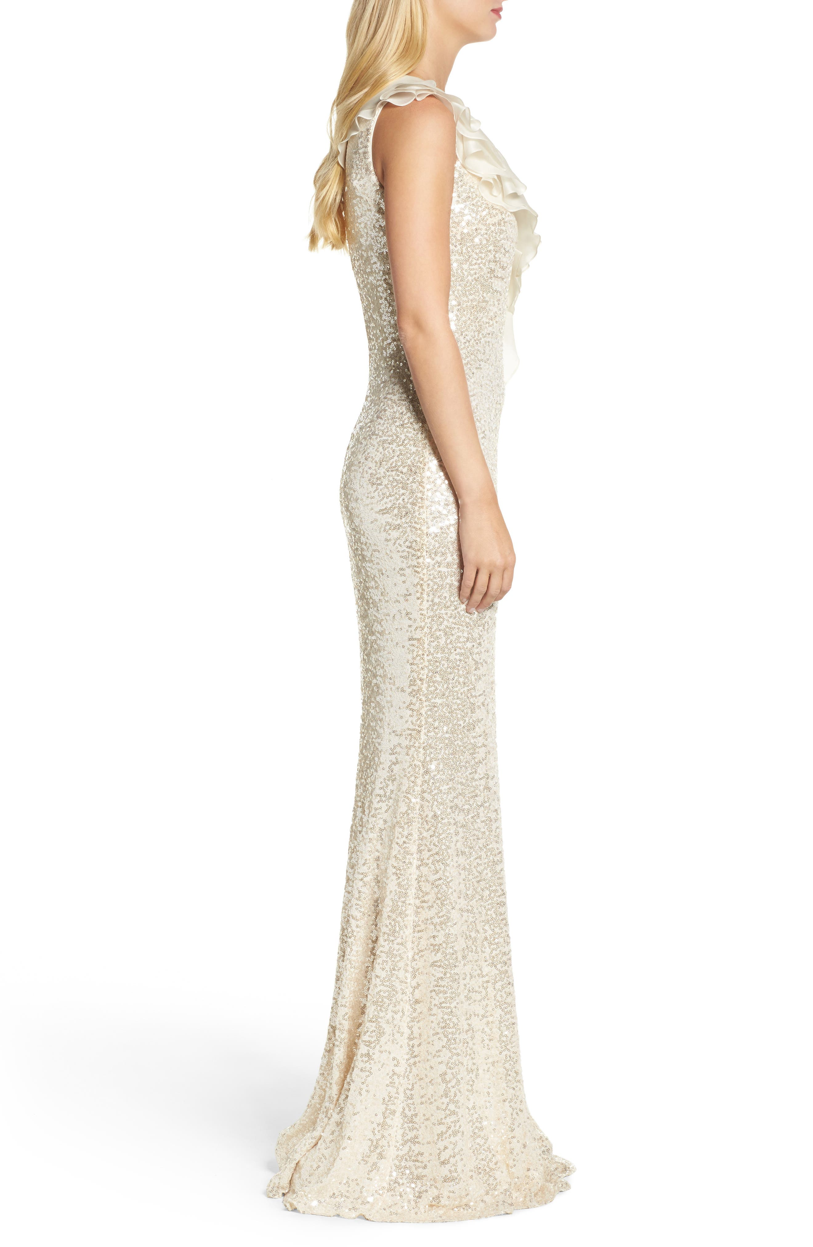 Ruffle Sequin One-Shoulder Gown,                             Alternate thumbnail 3, color,                             Champagne