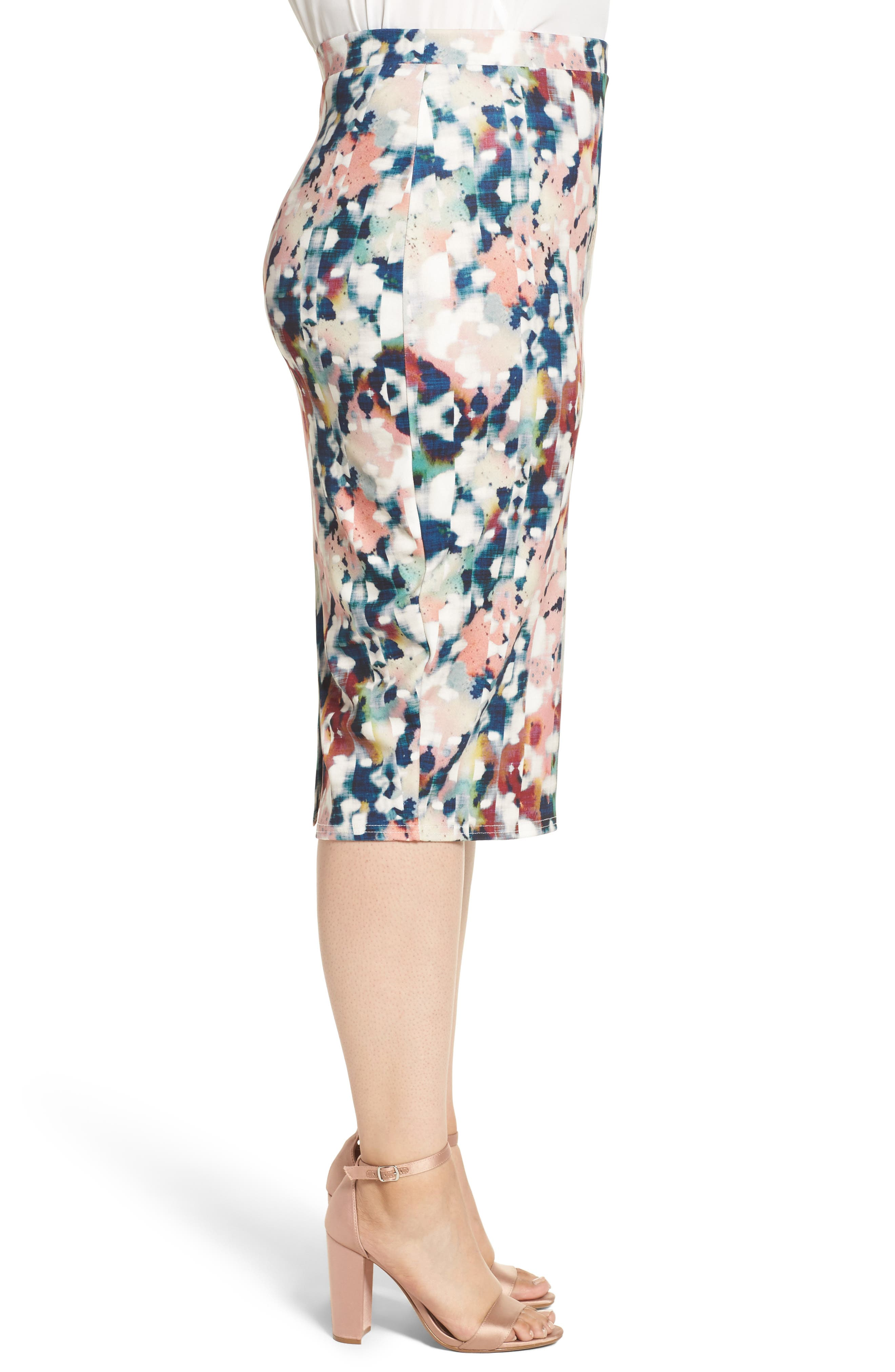 Alternate Image 3  - LOST INK Abstract Print Pencil Skirt (Plus Size)