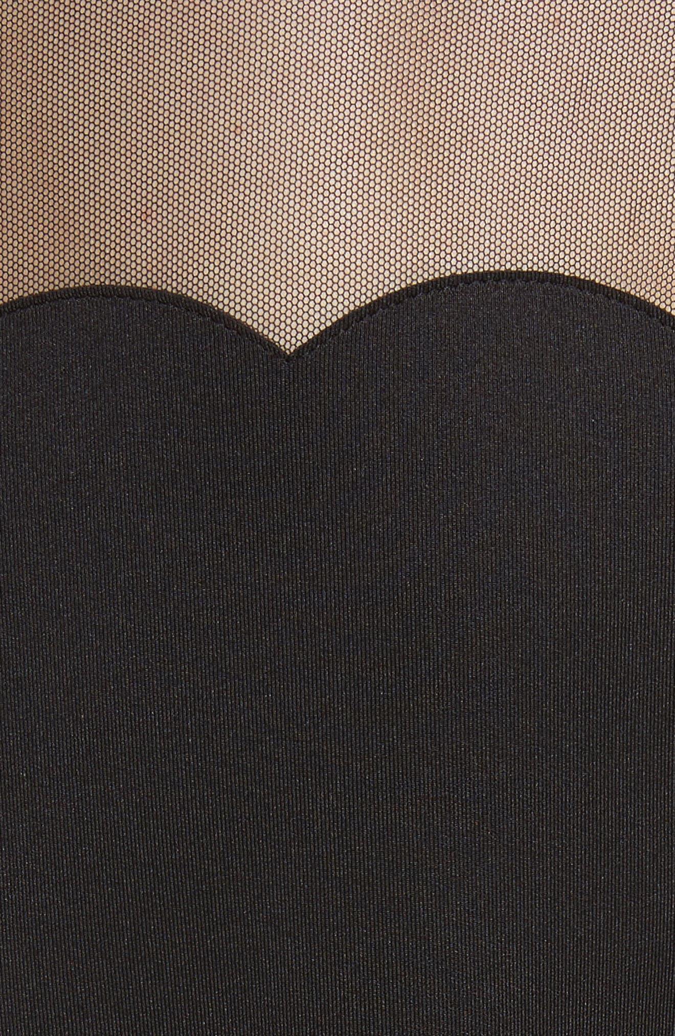 Kikoh Mesh Panel Skater Dress,                             Alternate thumbnail 5, color,                             Black