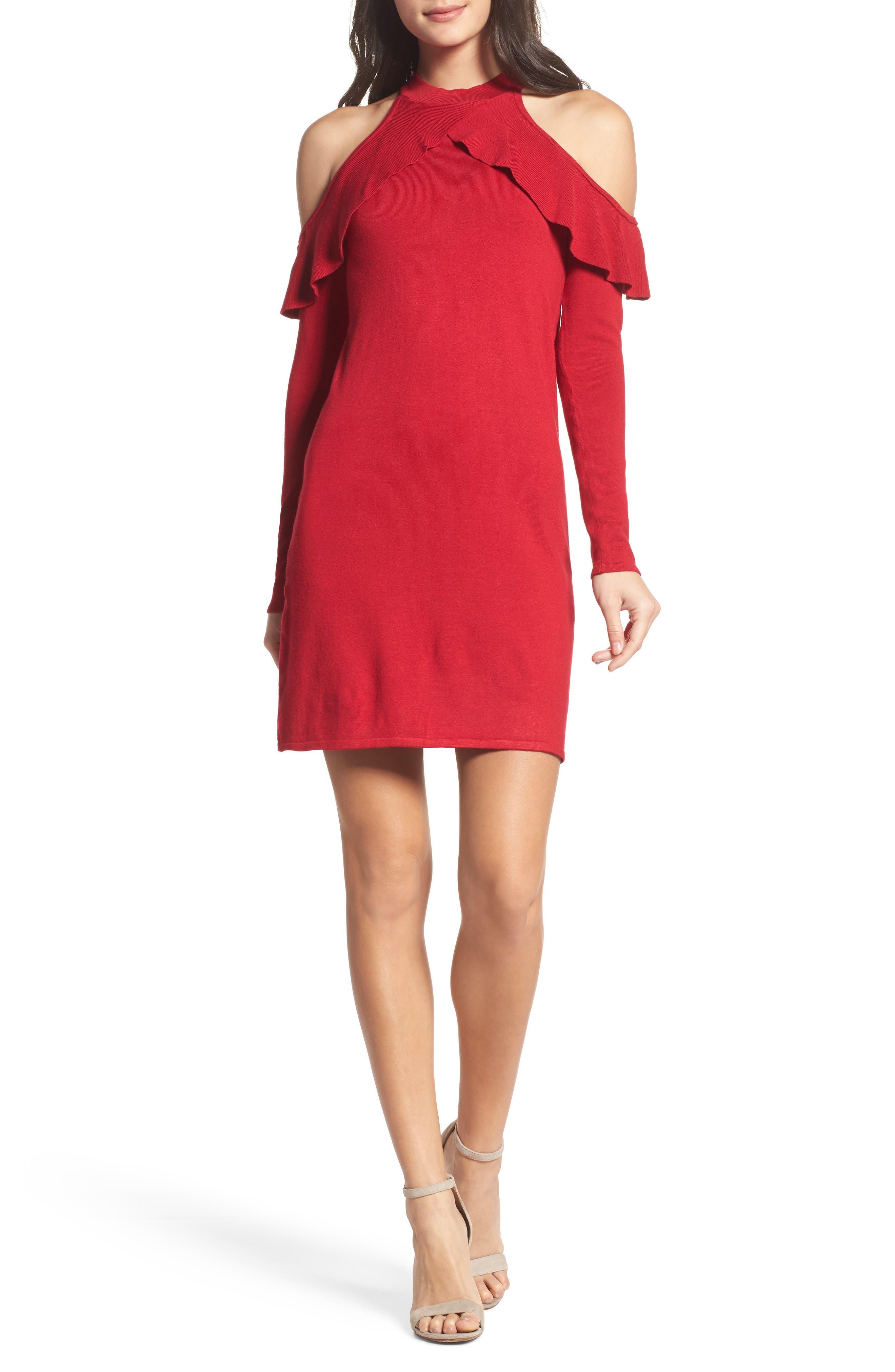 Love At First Sight Cold Shoulder Dress,                         Main,                         color, Scarlet