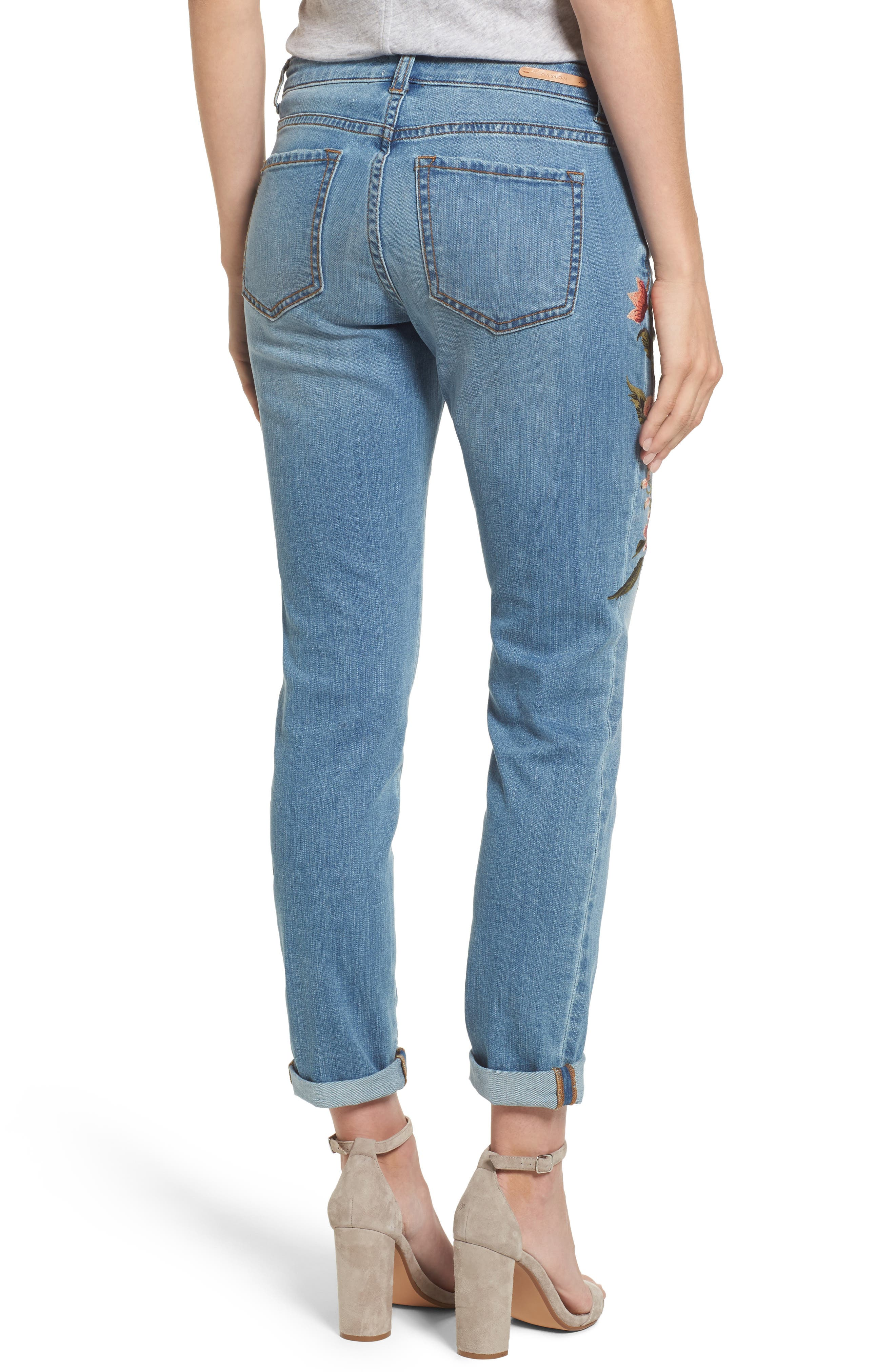 Embroidered Skinny Boyfriend Jeans,                             Alternate thumbnail 3, color,                             Blue Frontier