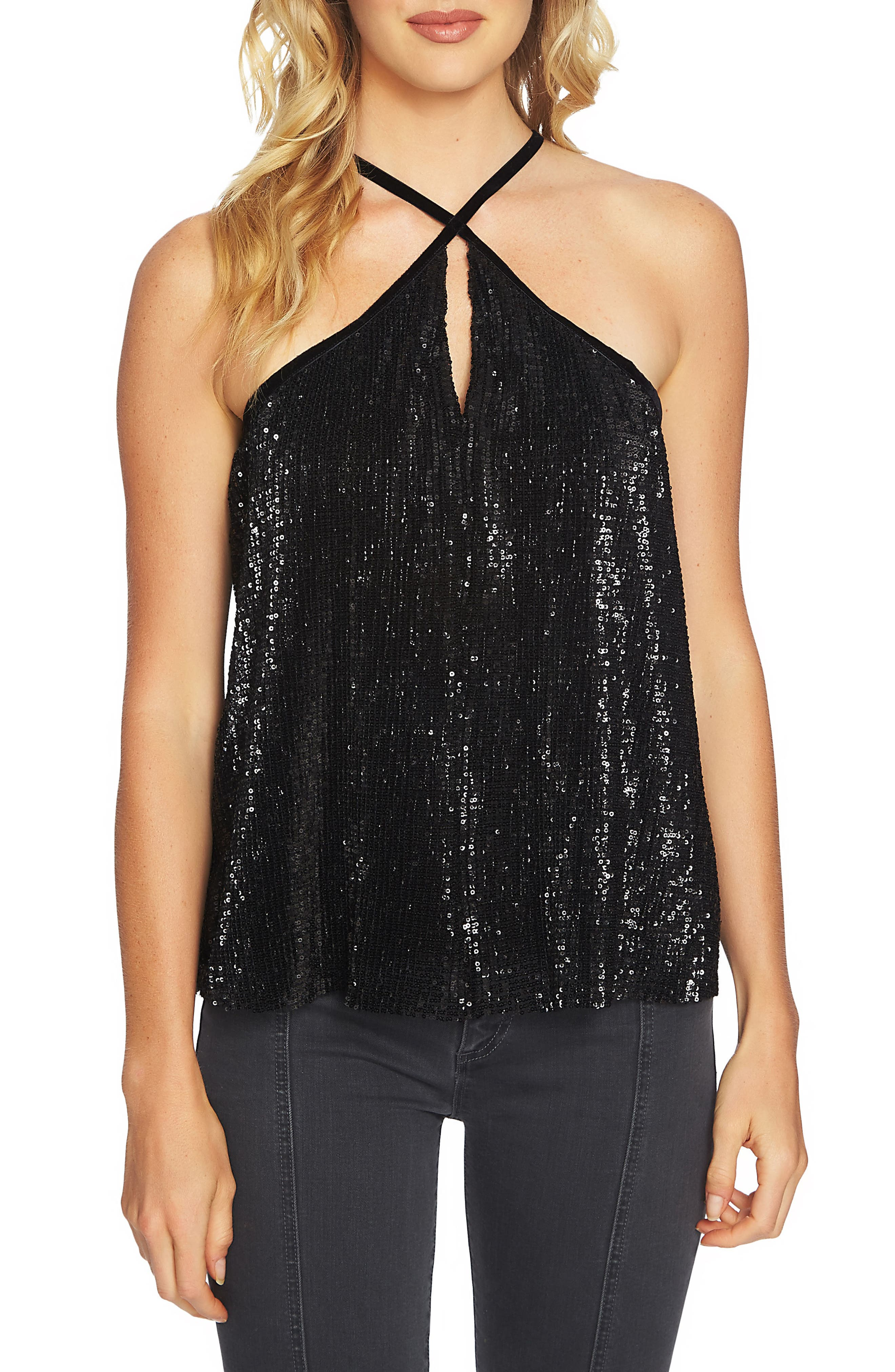Main Image - 1.STATE Sequin Halter Camisole