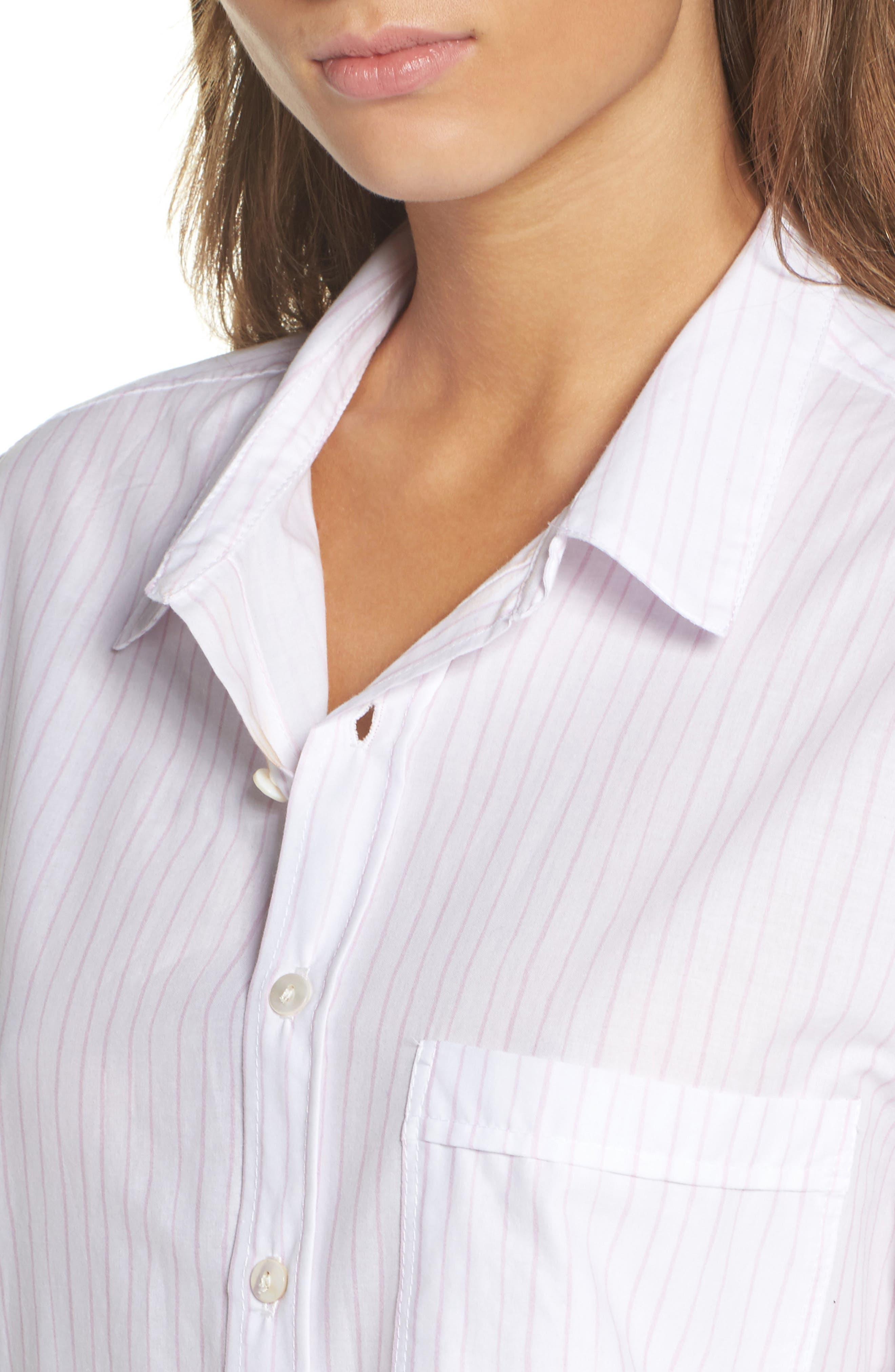 Pinstripe Boyfriend Sleep Shirt,                             Alternate thumbnail 4, color,                             Pink Stripe
