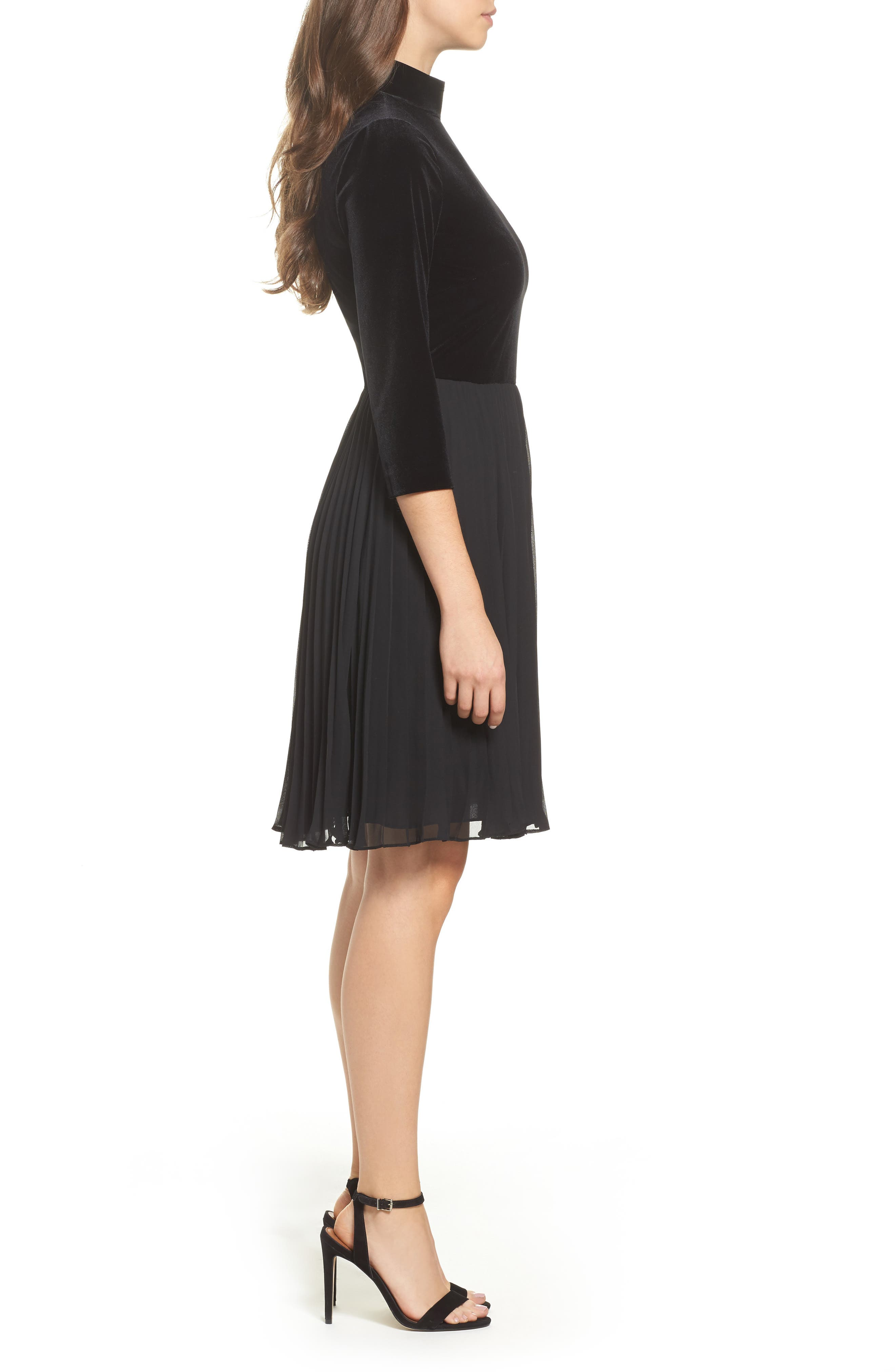 Alternate Image 3  - Adrianna Papell Velvet Mock Neck Dress