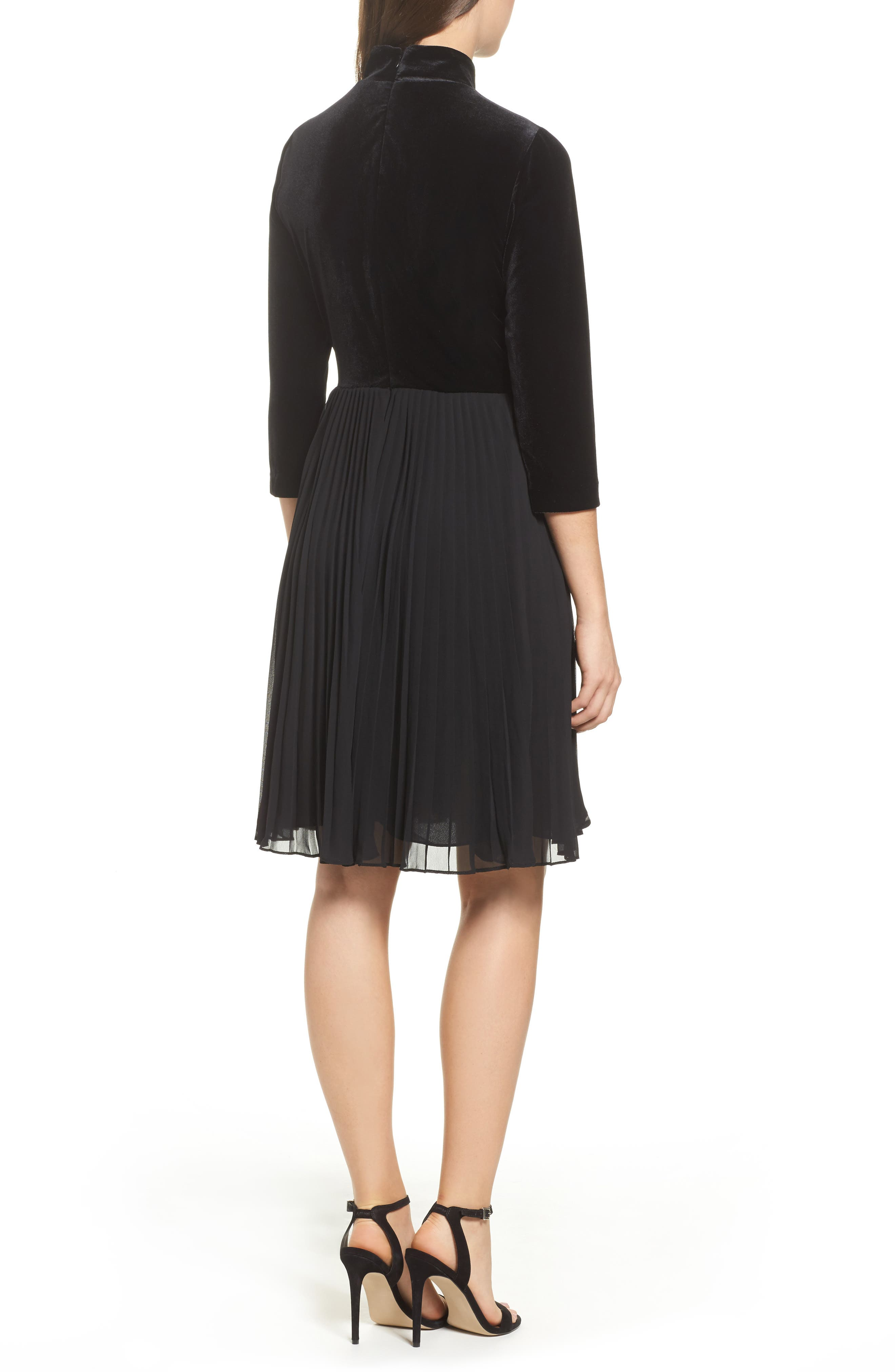 Alternate Image 2  - Adrianna Papell Velvet Mock Neck Dress