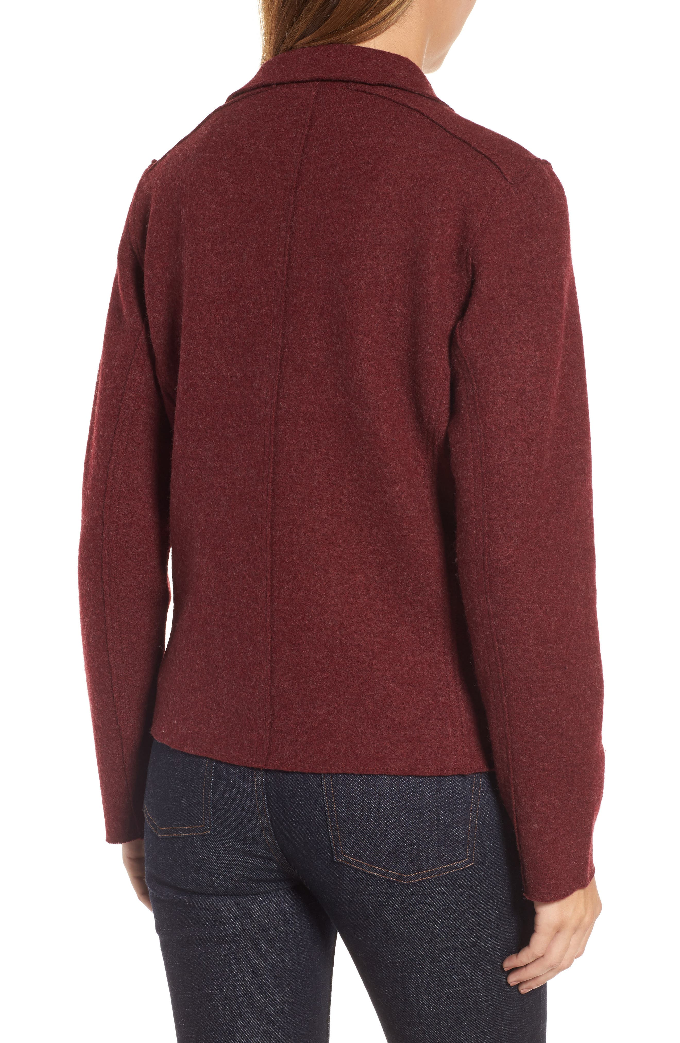 Boiled Wool Moto Jacket,                             Alternate thumbnail 2, color,                             Claret