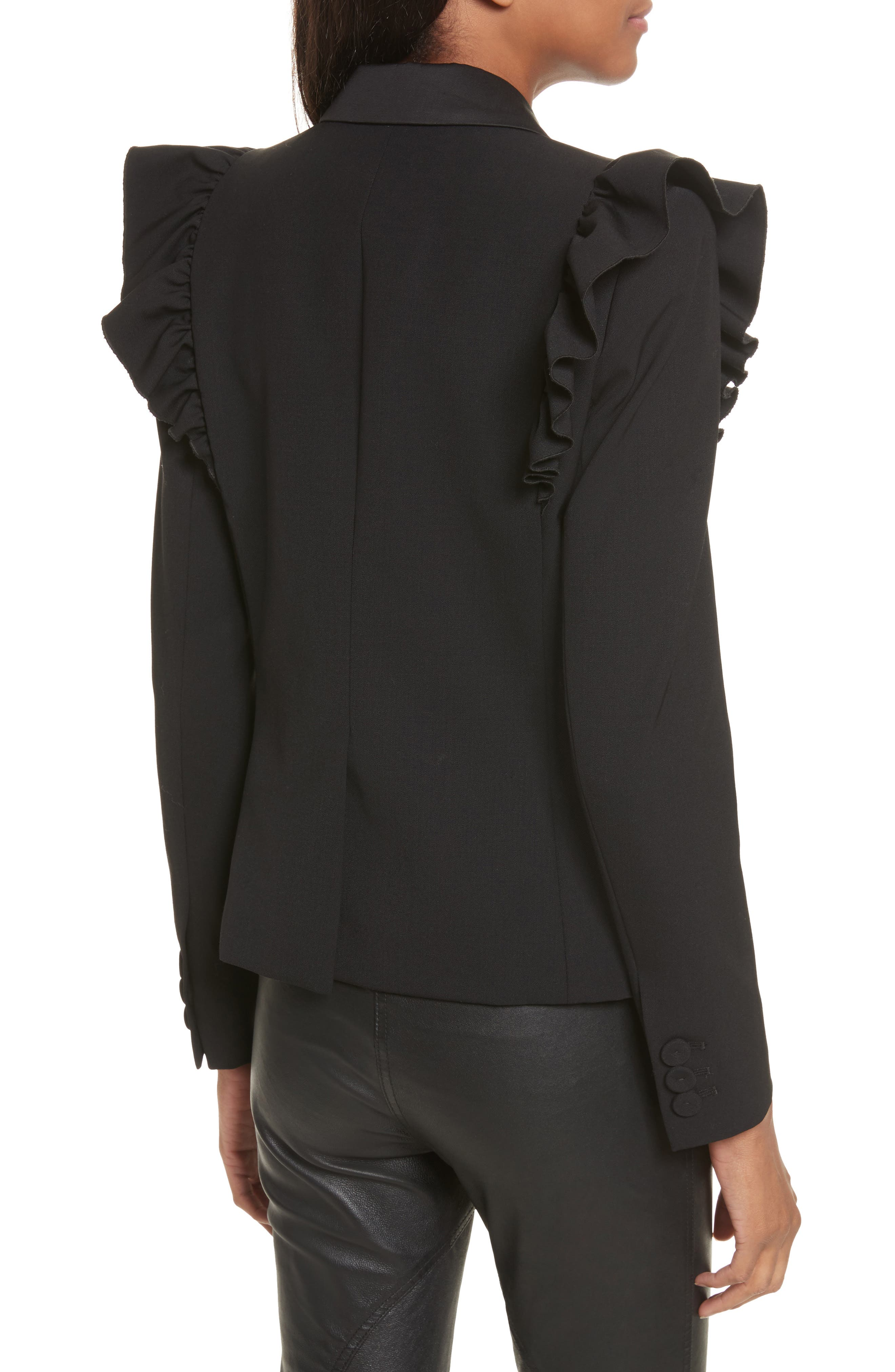 Ruffle Stretch Wool Jacket,                             Alternate thumbnail 2, color,                             Black
