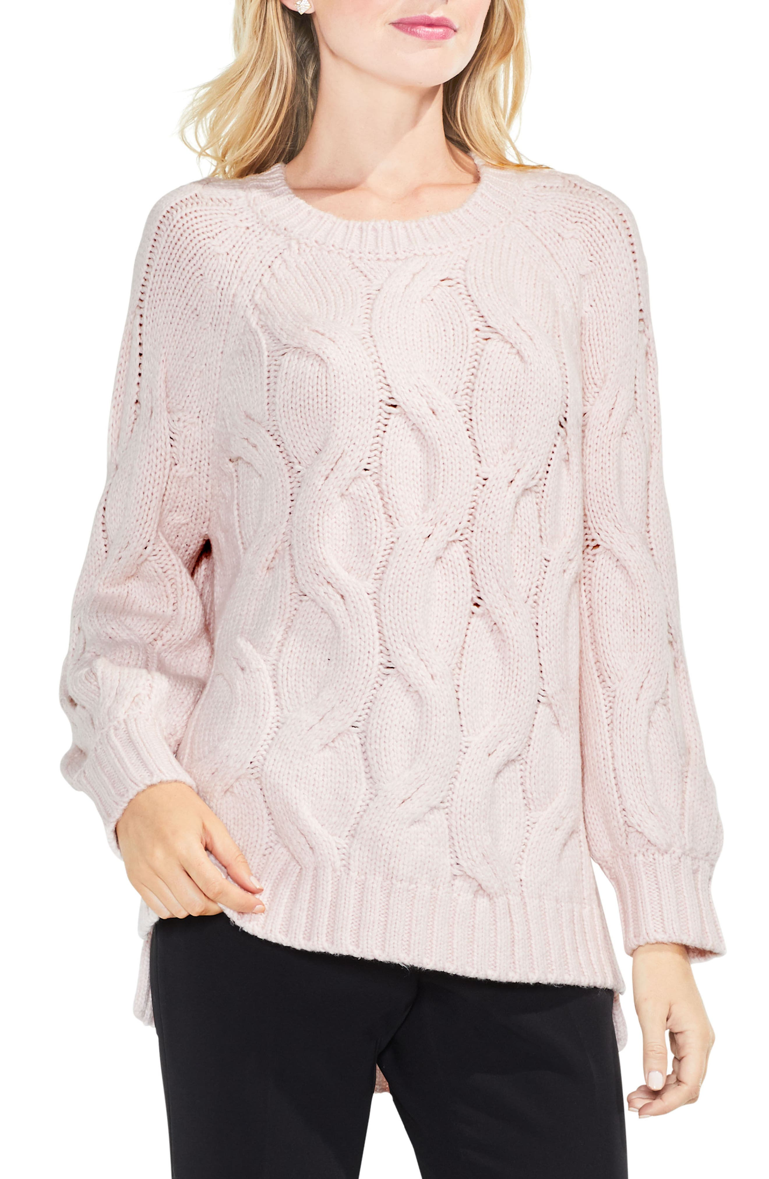 Long Sleeve Chunky Cable Sweater,                             Main thumbnail 1, color,                             Opal Rose