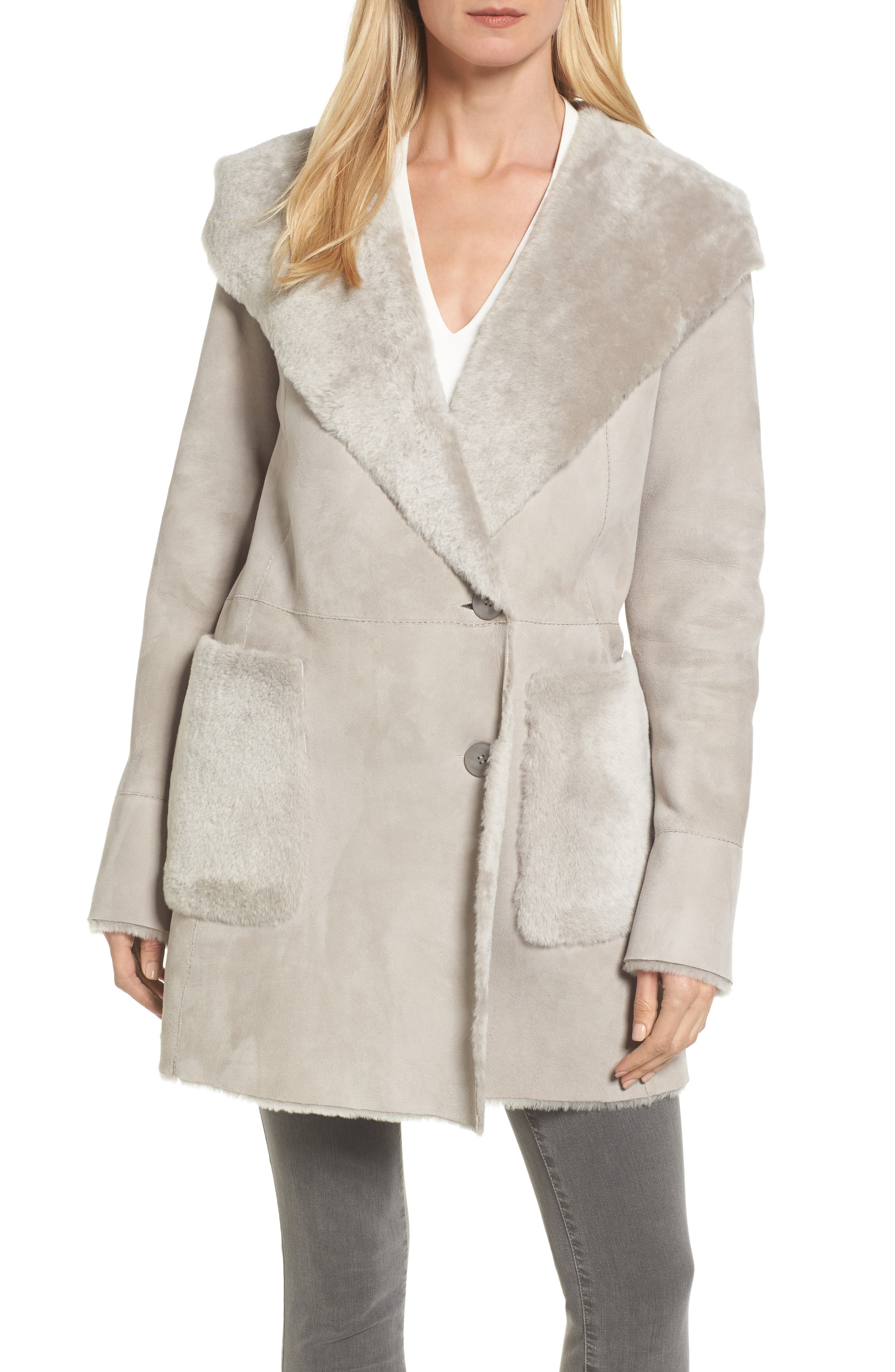 Patch Genuine Shearling Coat,                         Main,                         color, Light Grey