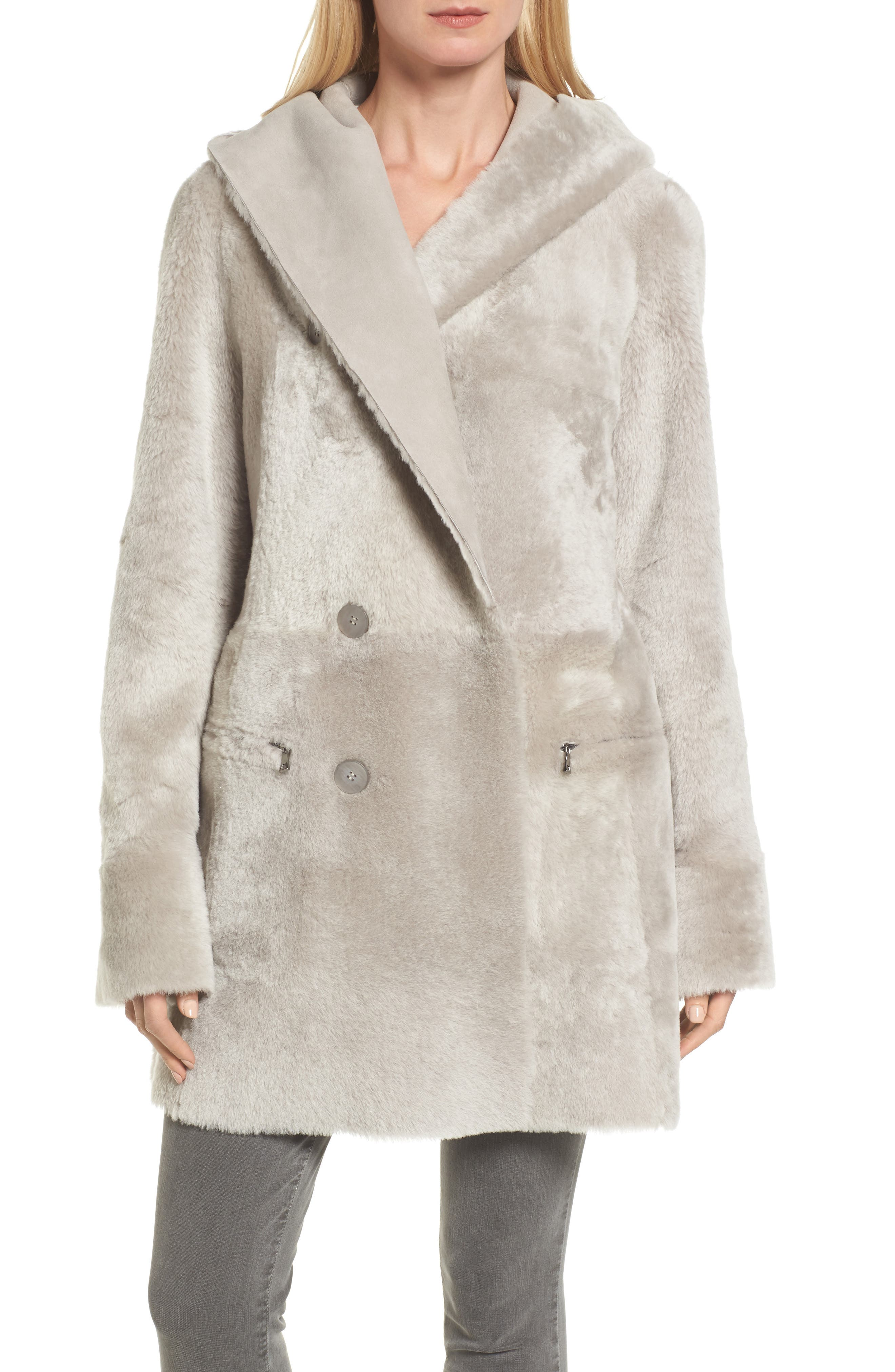 Patch Genuine Shearling Coat,                             Alternate thumbnail 6, color,                             Light Grey