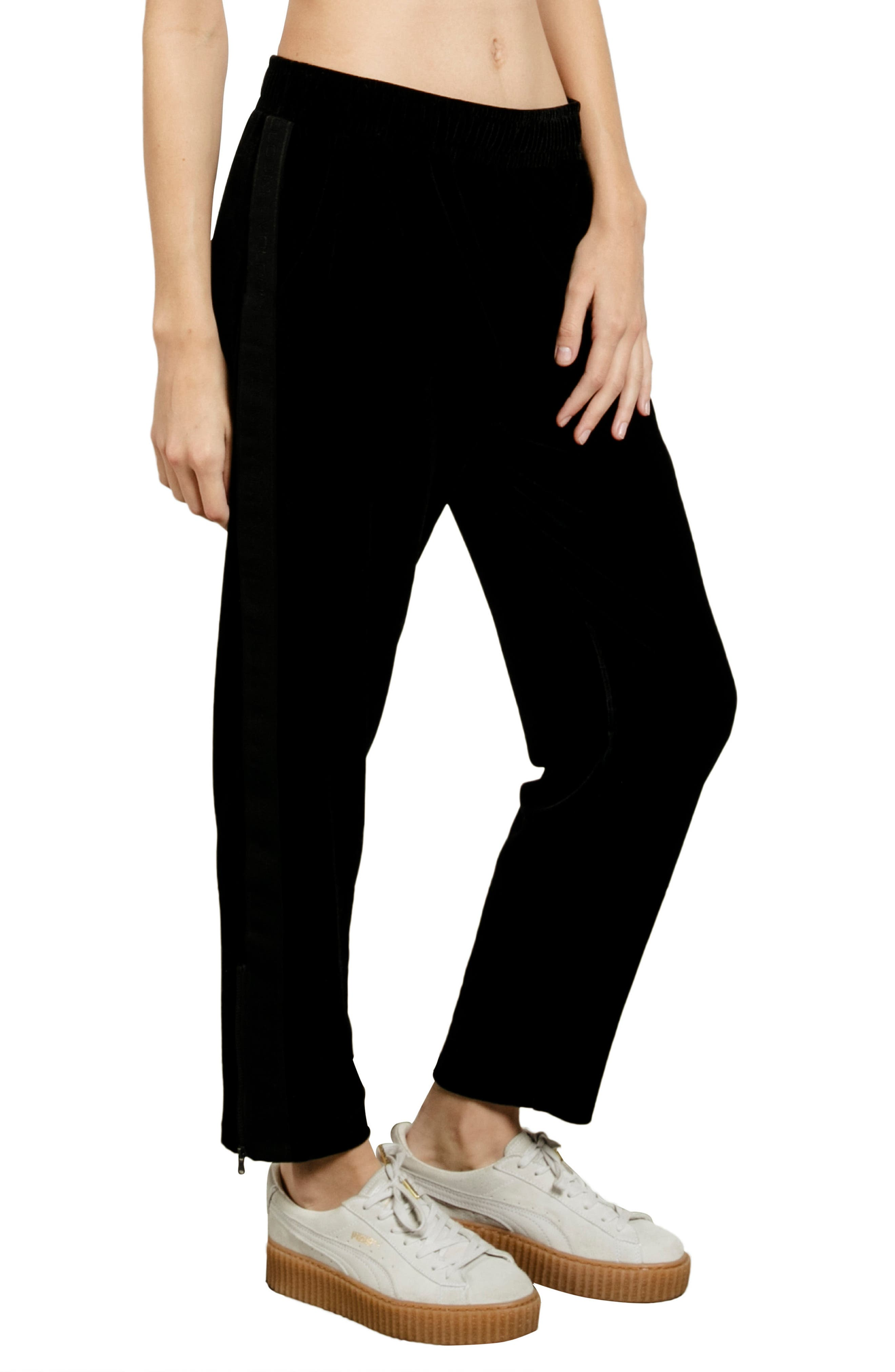 Velour You In Track Pants,                             Main thumbnail 1, color,                             Black