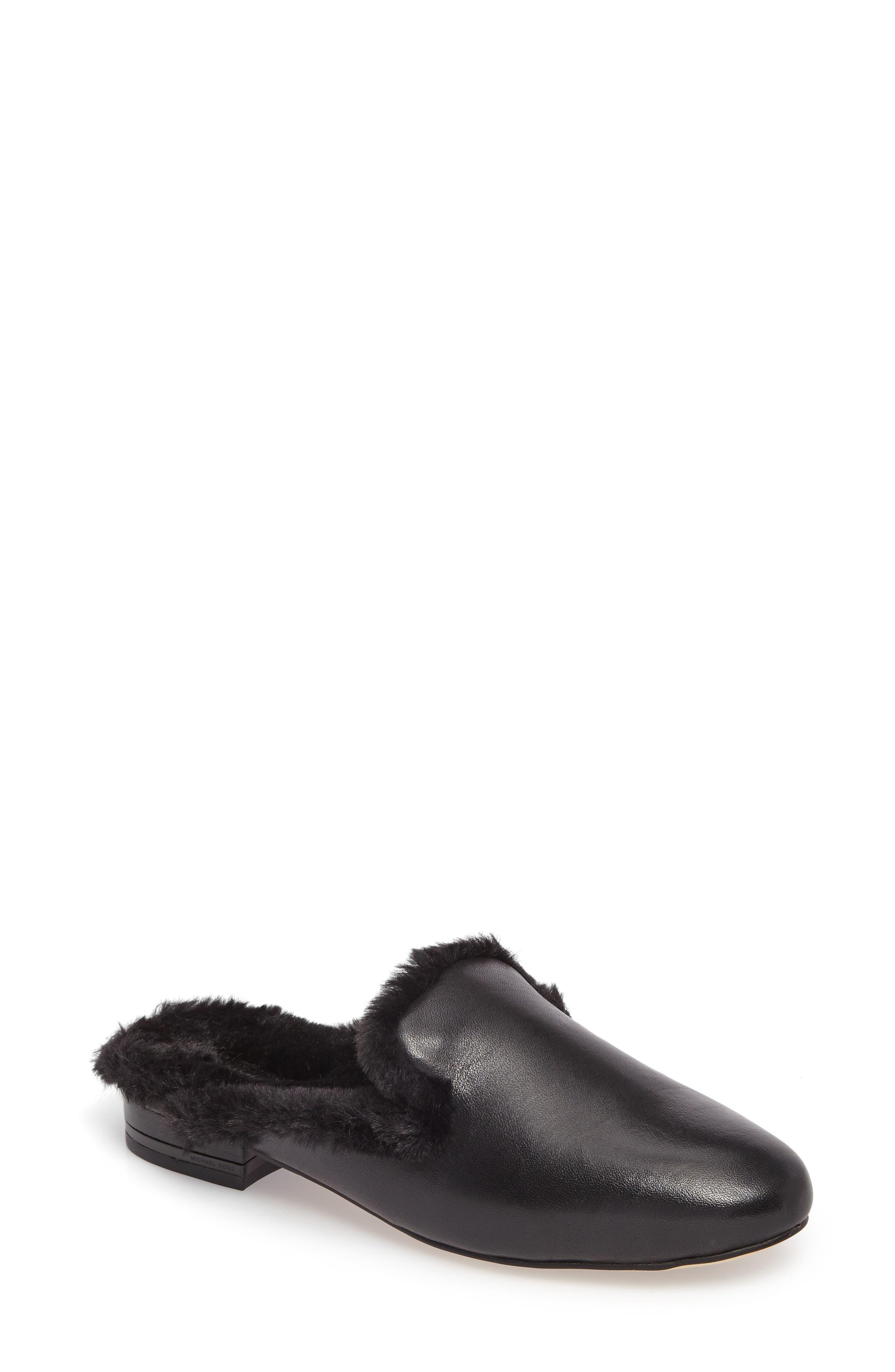 Natasha Mule,                         Main,                         color, Black Faux Fur