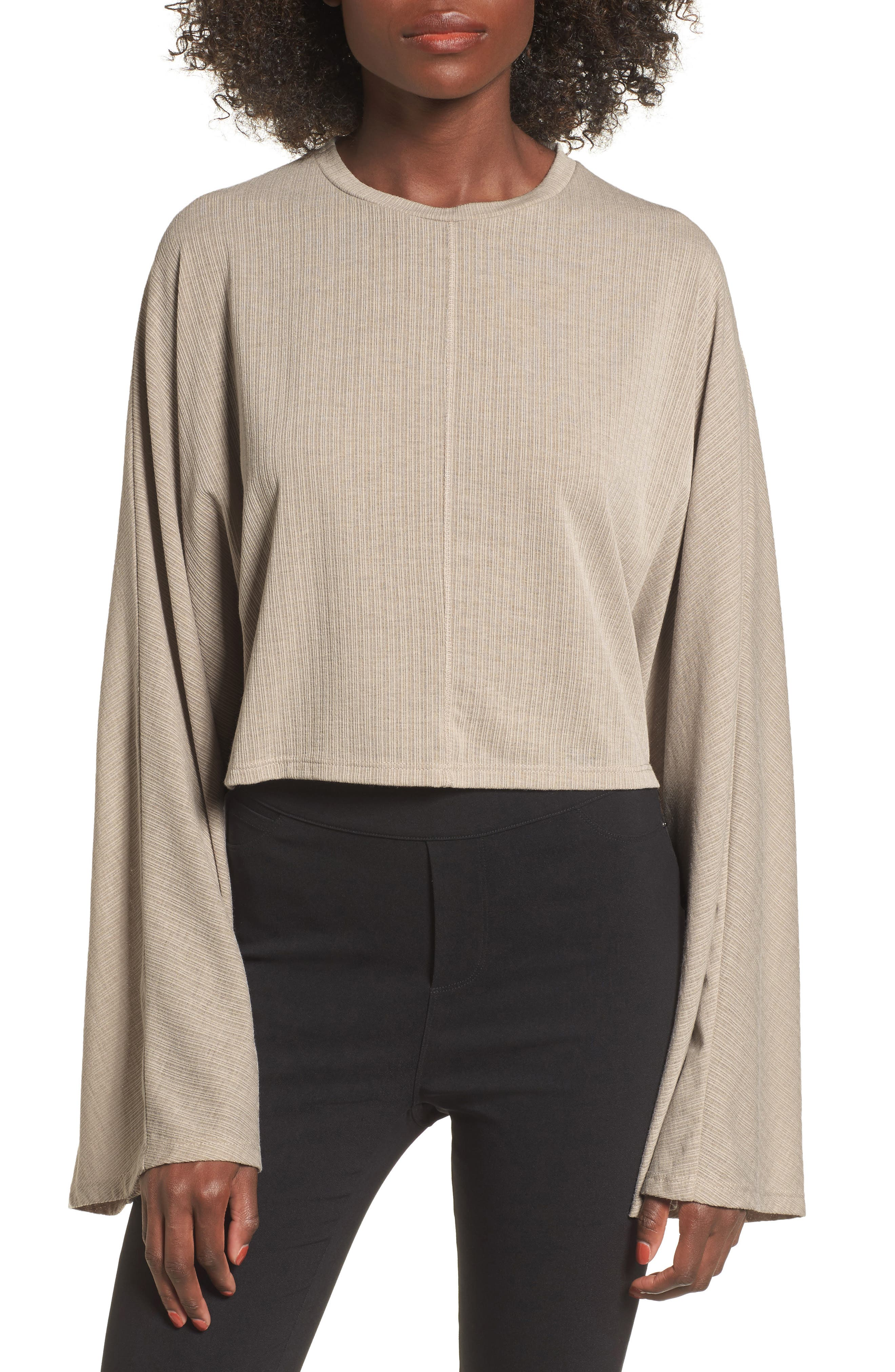 Ribbed Bell Sleeve Crop Top,                         Main,                         color, Taupe