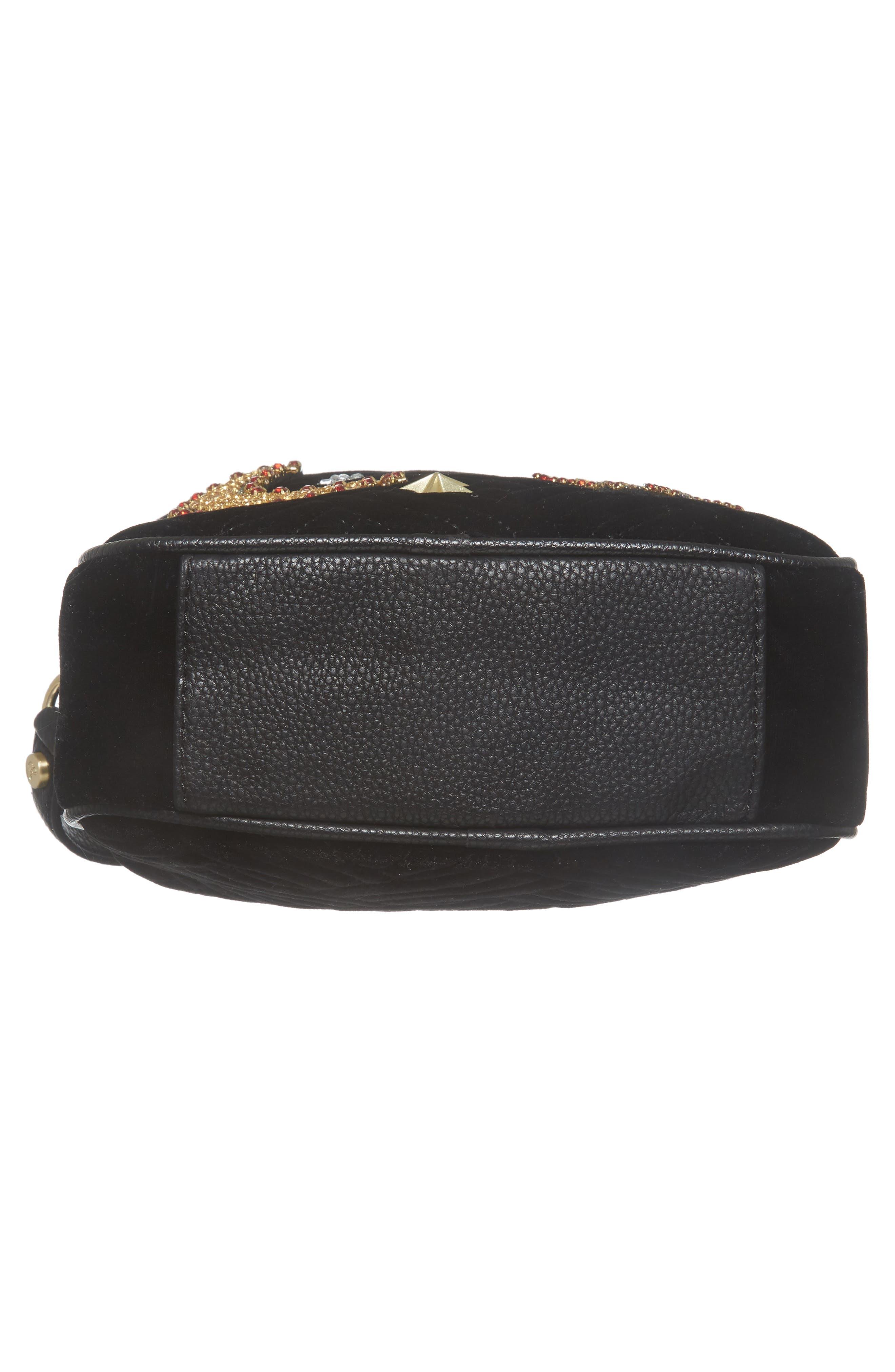 Perri Velvet Camera Crossbody Bag,                             Alternate thumbnail 5, color,                             Black Moon/ Star