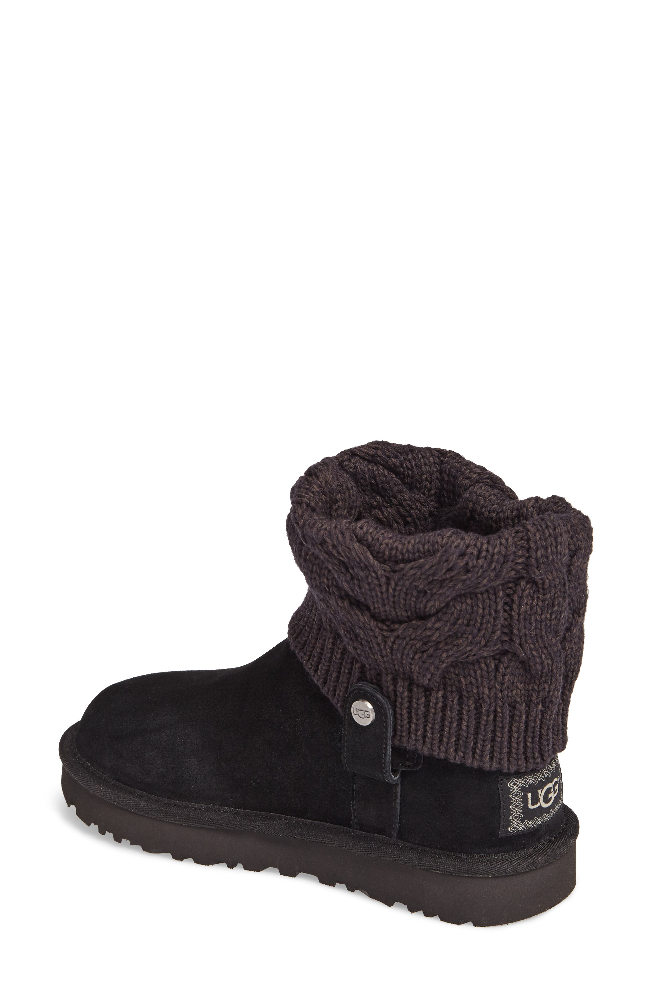 Saela Knit Cuff Boot,                             Alternate thumbnail 2, color,                             Black Suede