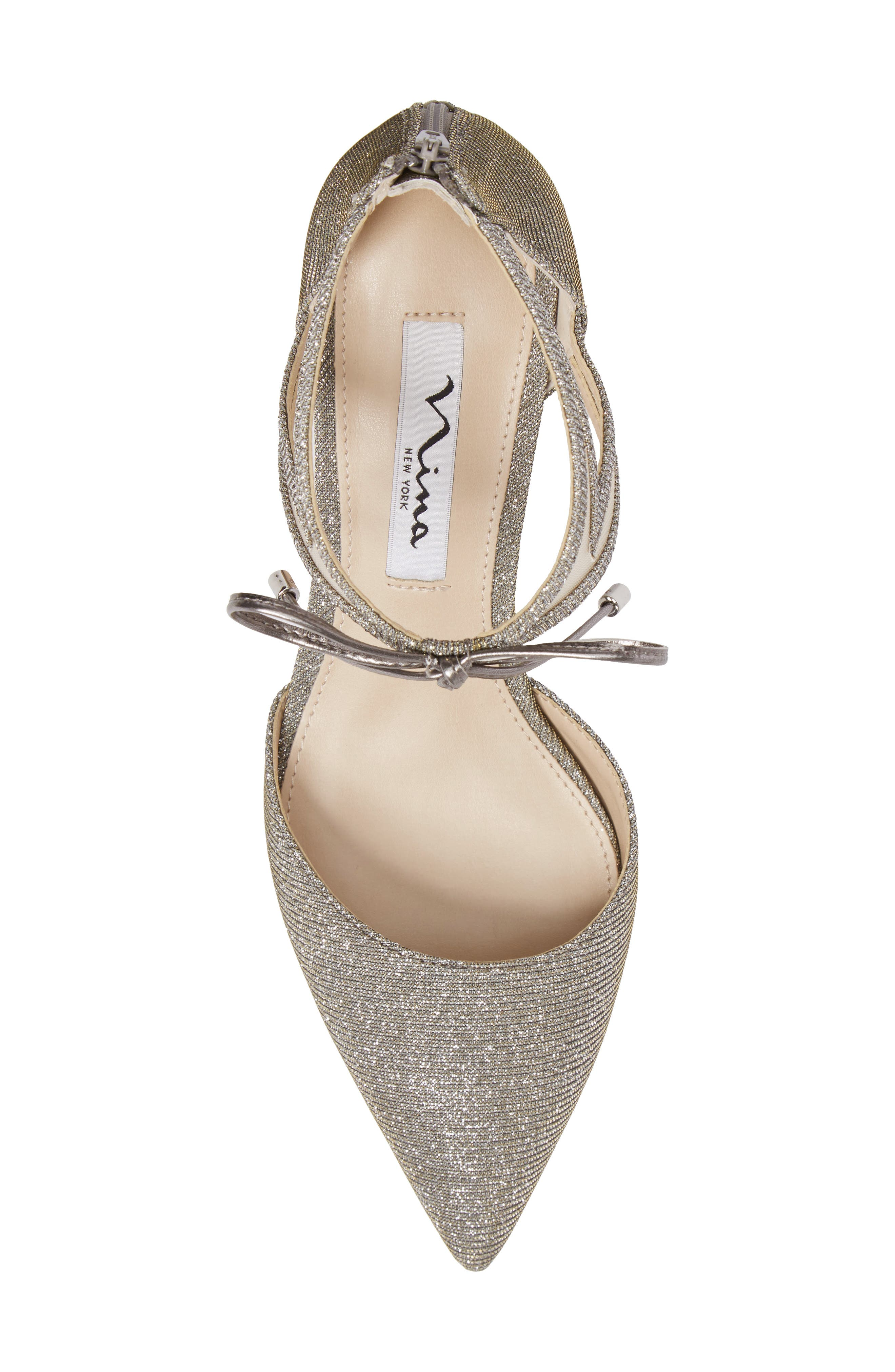 Talley Pointy Toe Pump,                             Alternate thumbnail 5, color,                             Steel/ Champ Metallic Fabric