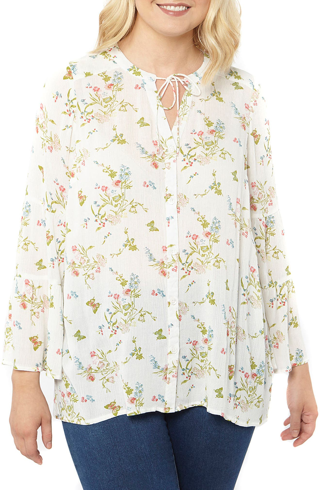 Bell Sleeve Floral Blouse,                         Main,                         color, Ivory