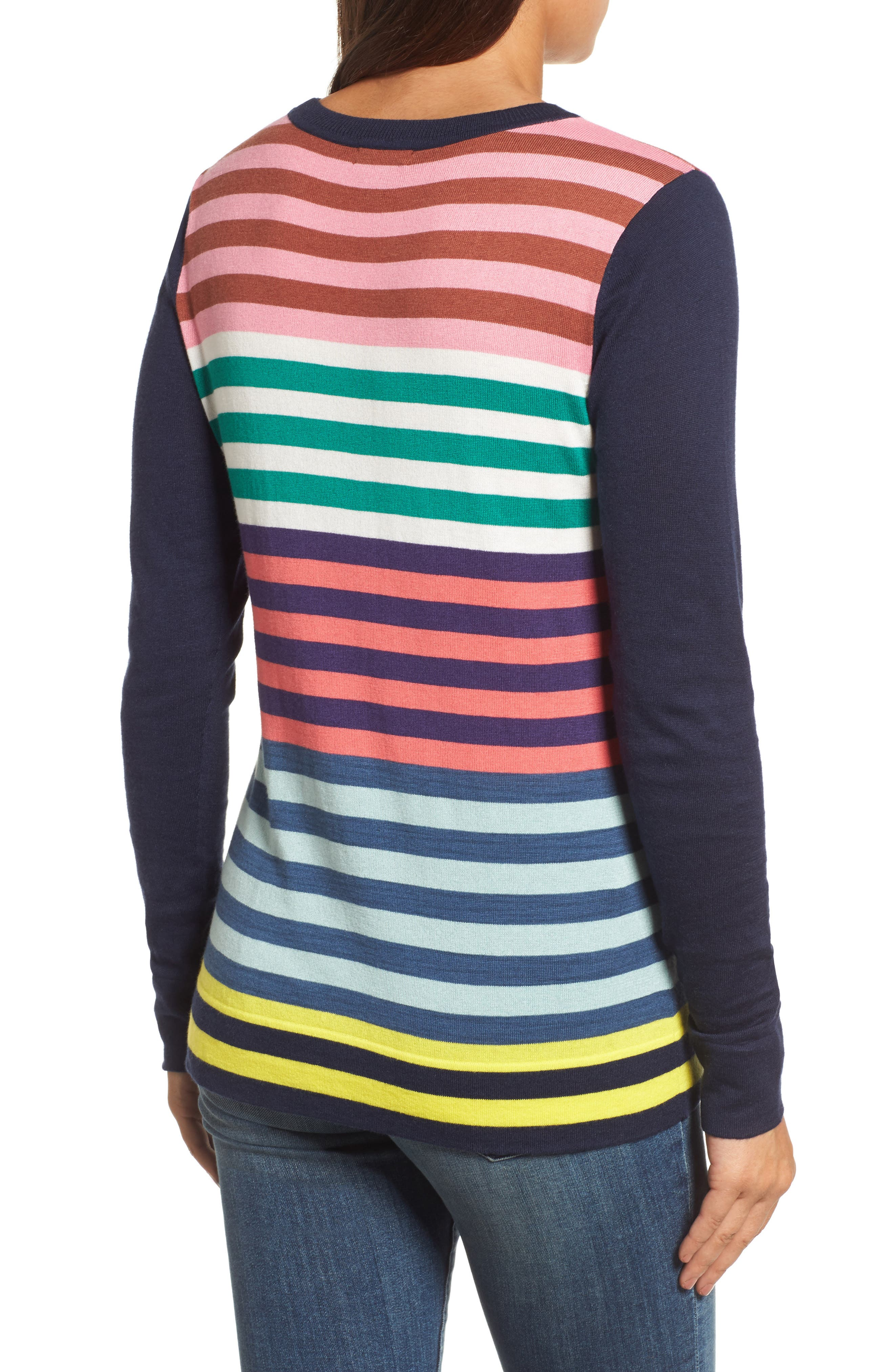 Colorblock Stripe Sweater,                             Alternate thumbnail 2, color,                             Coral Multi Stripe