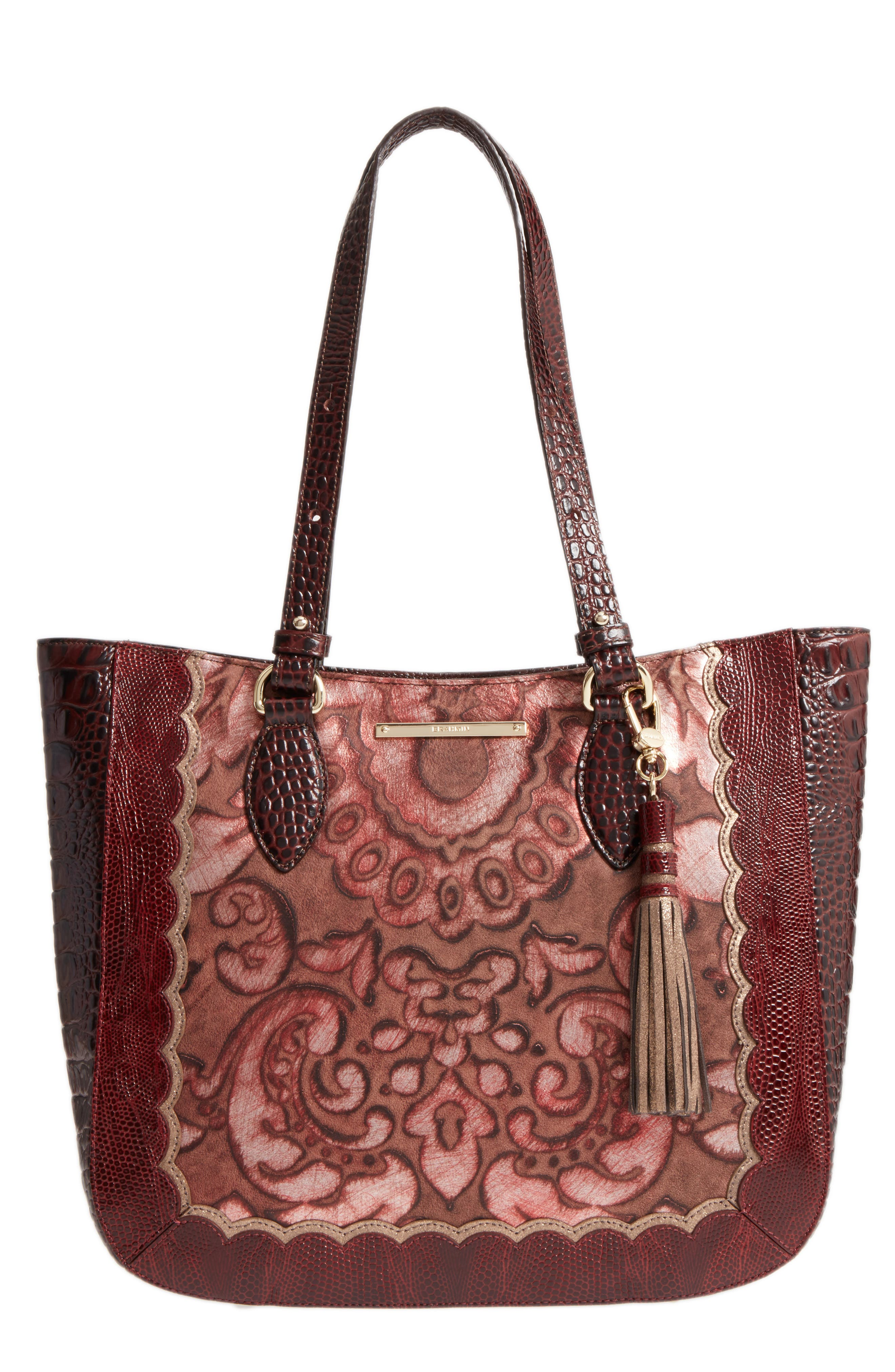 Medium Red Verona - Lena Leather Tote,                         Main,                         color, Red