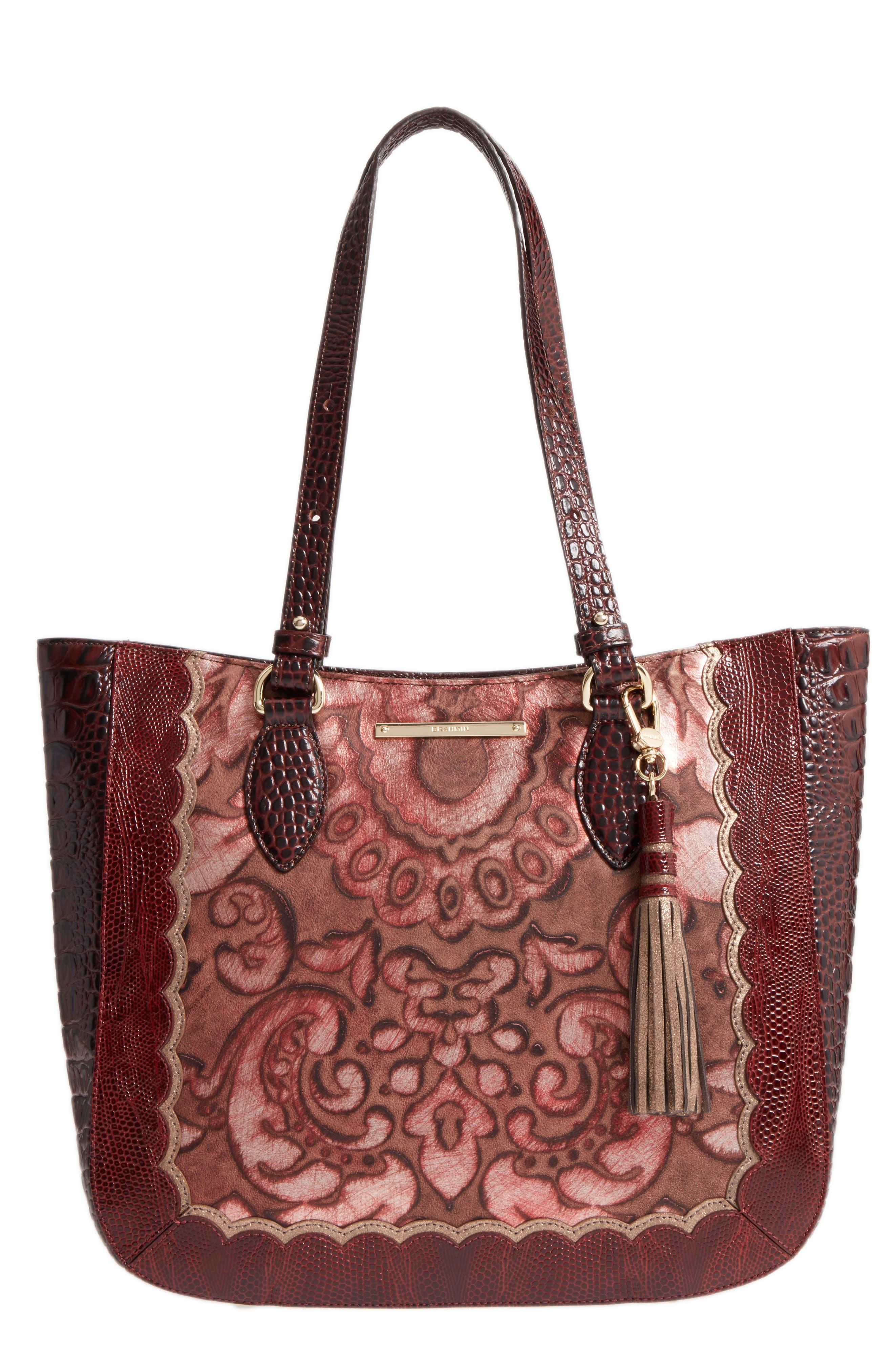 Brahmin Medium Red Verona - Lena Leather Tote