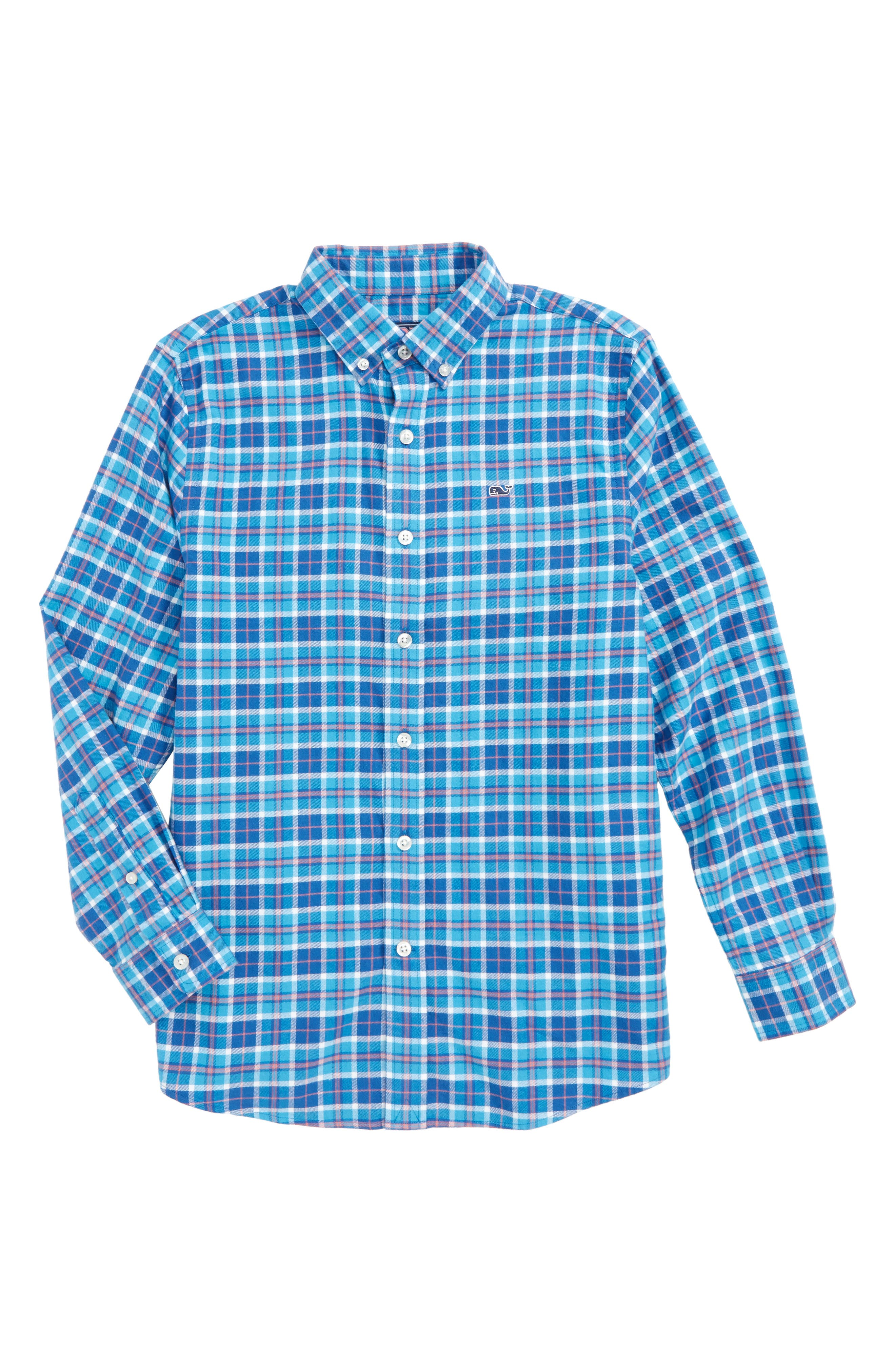 Plaskett Creek Plaid Whale Shirt,                         Main,                         color, Atlantic Blue