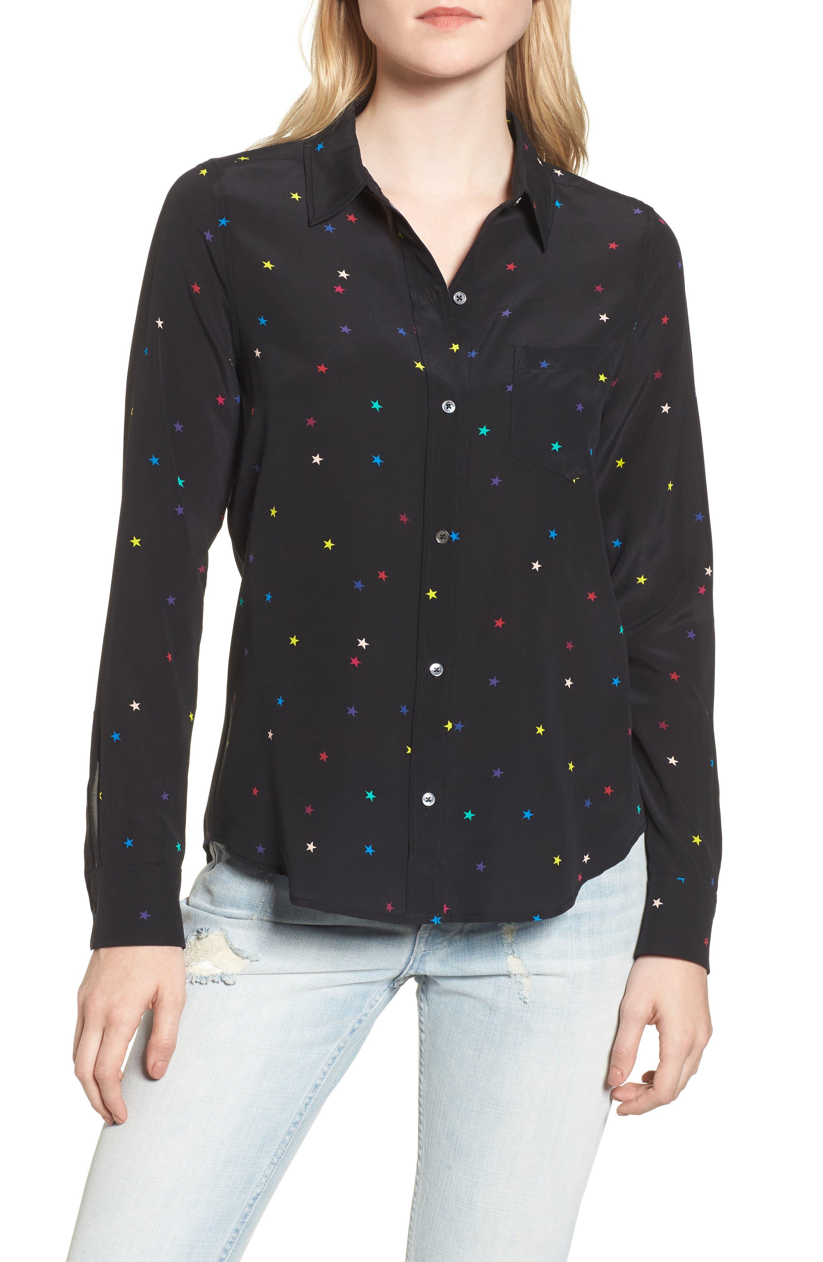 Kate Star Print Silk Blouse,                         Main,                         color, Rainbow Stars/ Black